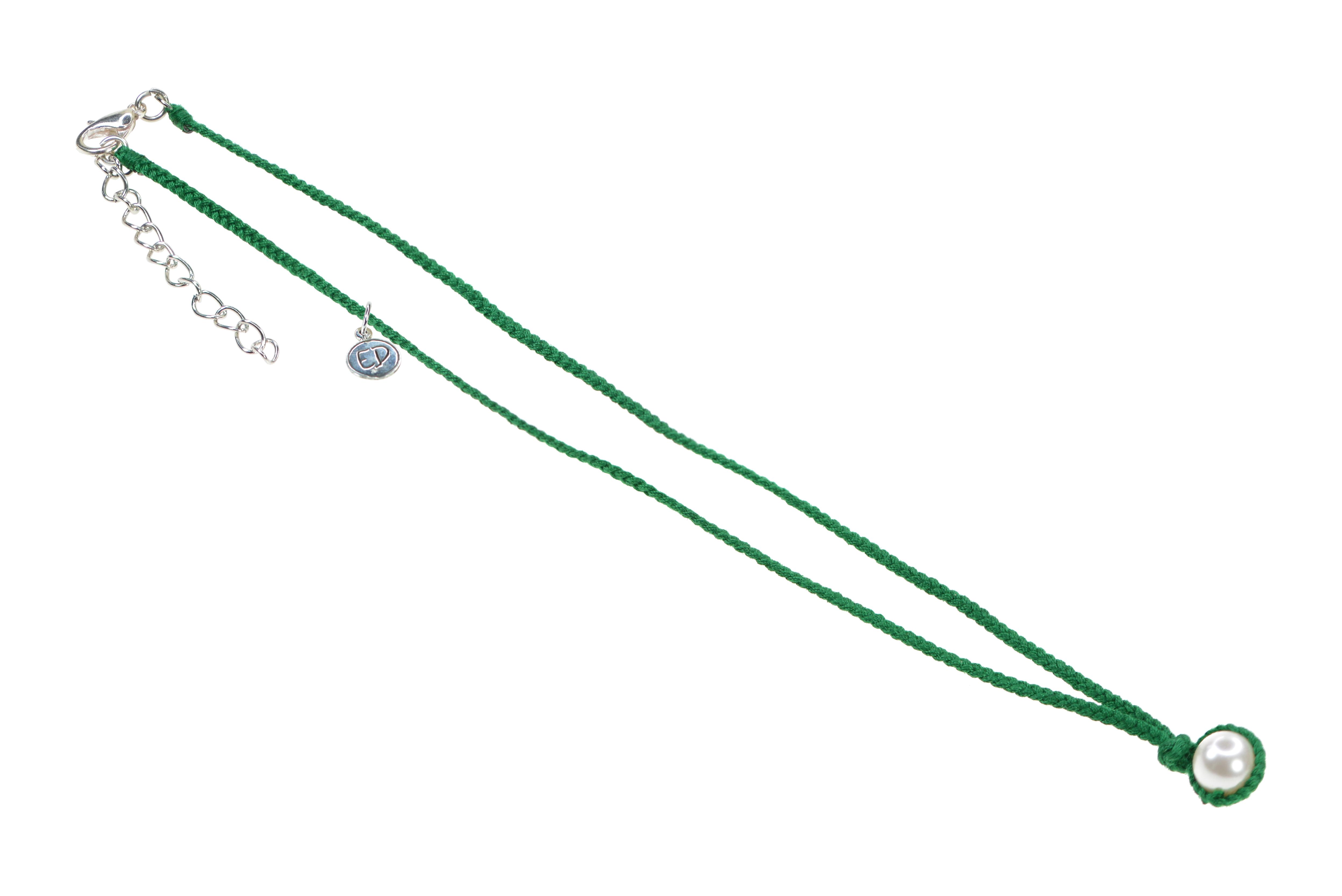 Dámsky ručne pletený náhrdelník s perlou - zelený