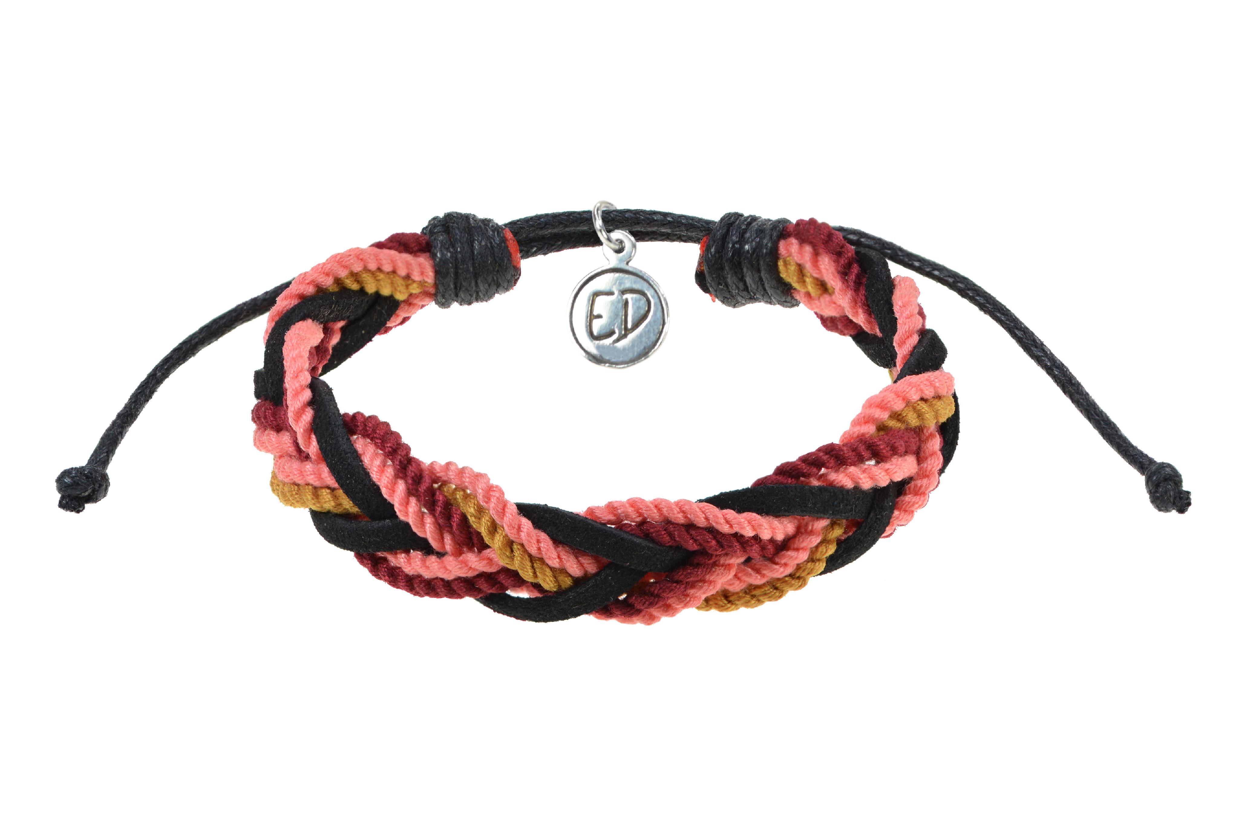 Unisex ručne pletený náramok viacfarebný - červená, ružová, hnedá, čierna