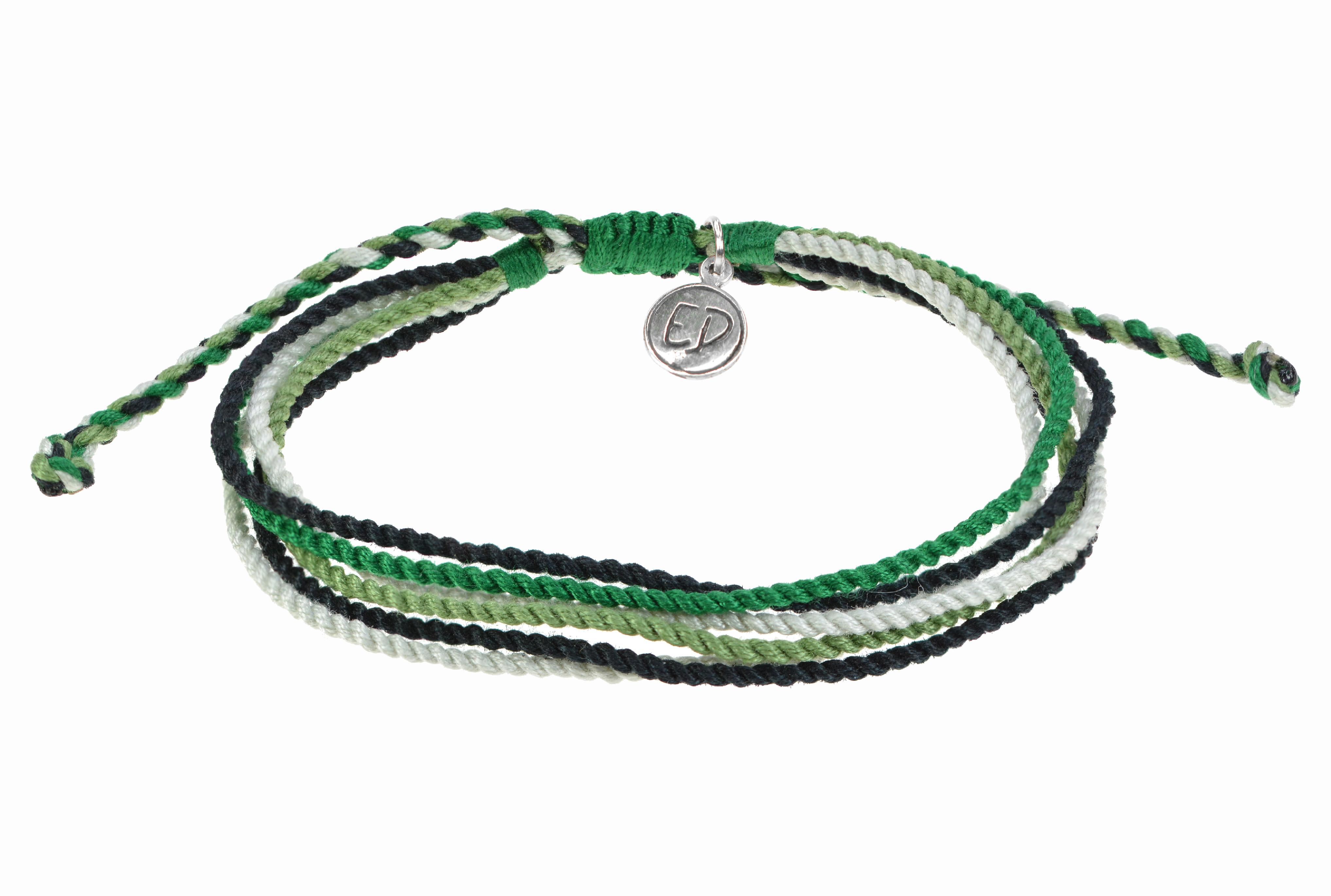 Unisex náramok z viacfarebných ručne tkaných šnúrok - zelený