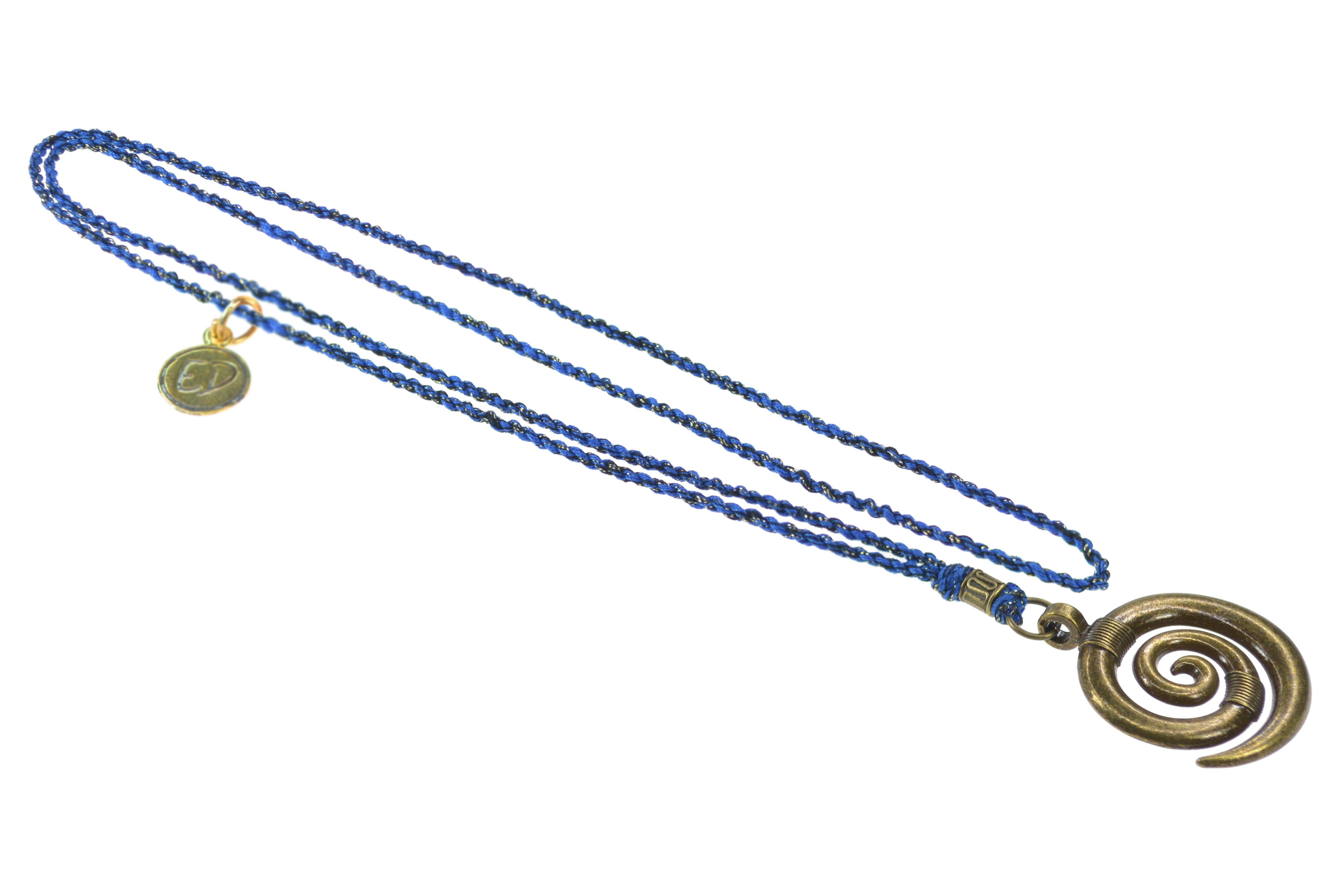 Pánsky prírodný náhrdelník s príveskom špirála - modrý