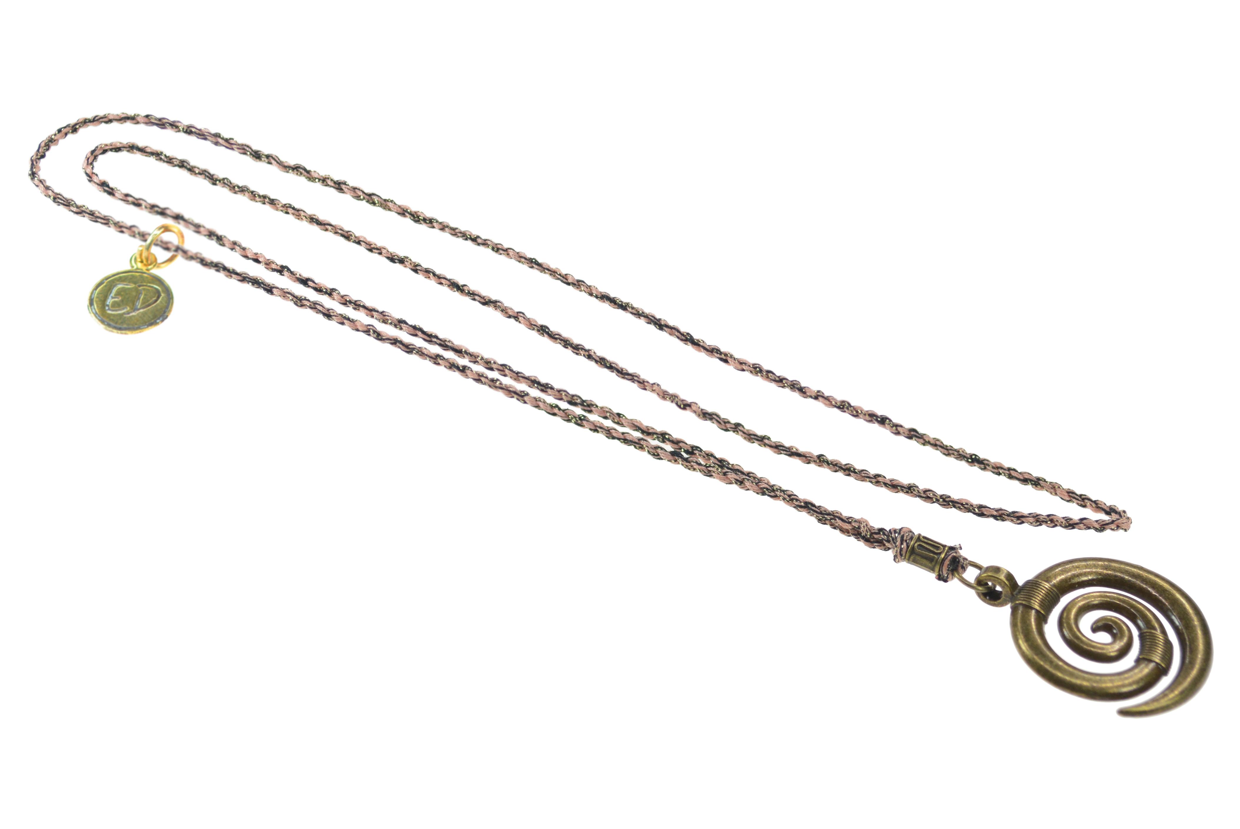 Pánsky prírodný náhrdelník s príveskom špirála - hnedý