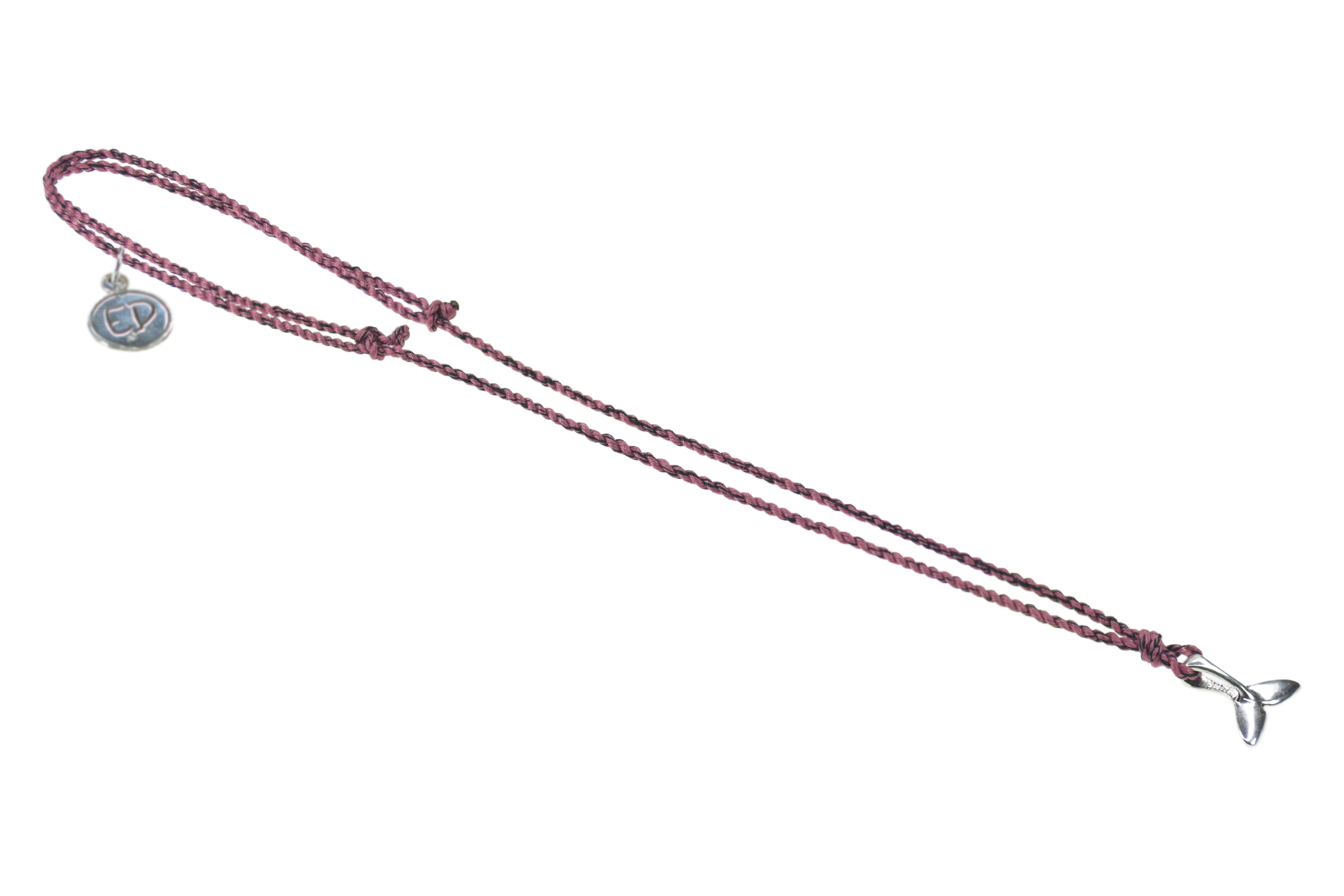 Pánsky prírodný náhrdelník s príveskom veľryba - vínový