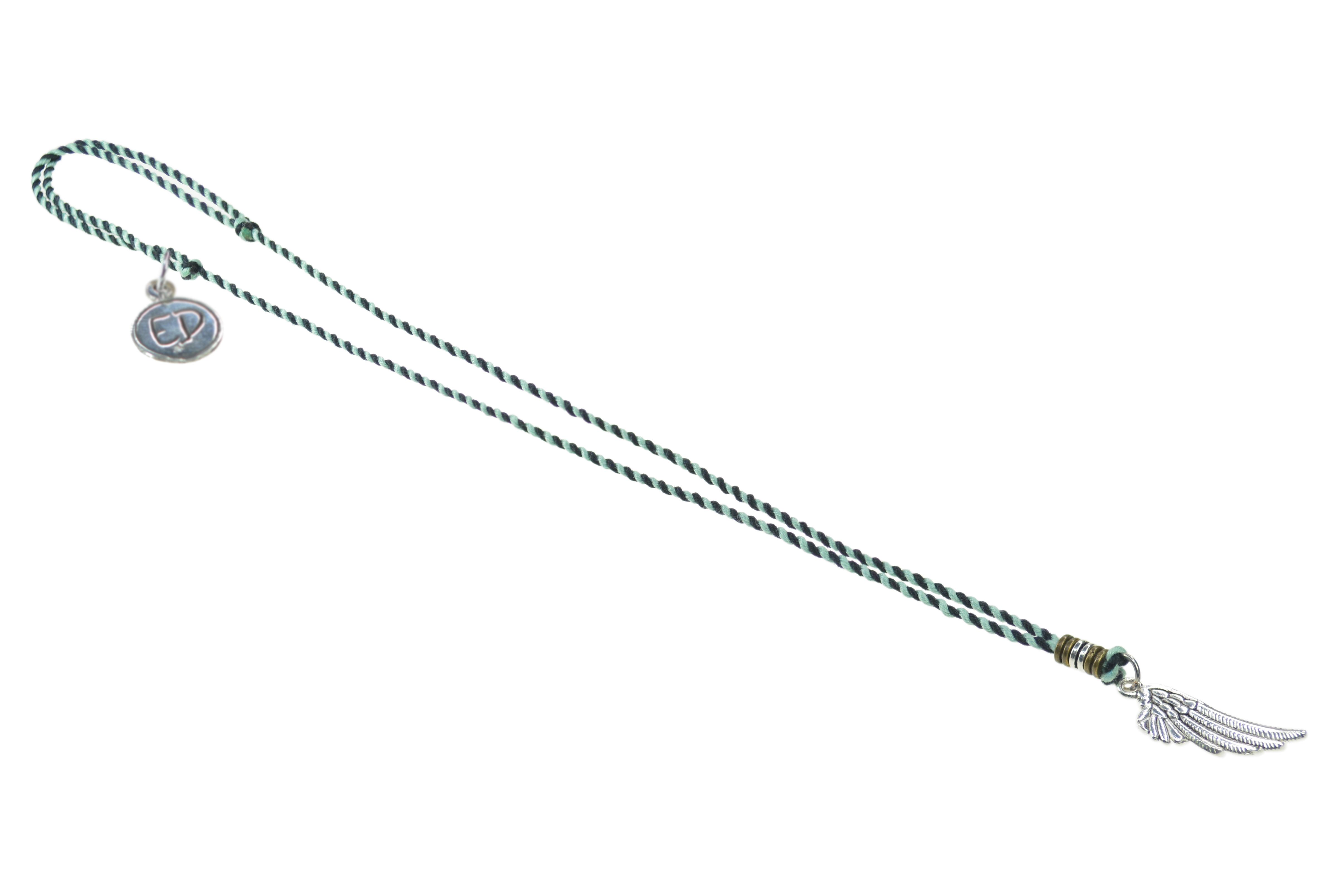Pánsky prírodný náhrdelník s príveskom anjelské krídlo - zelený