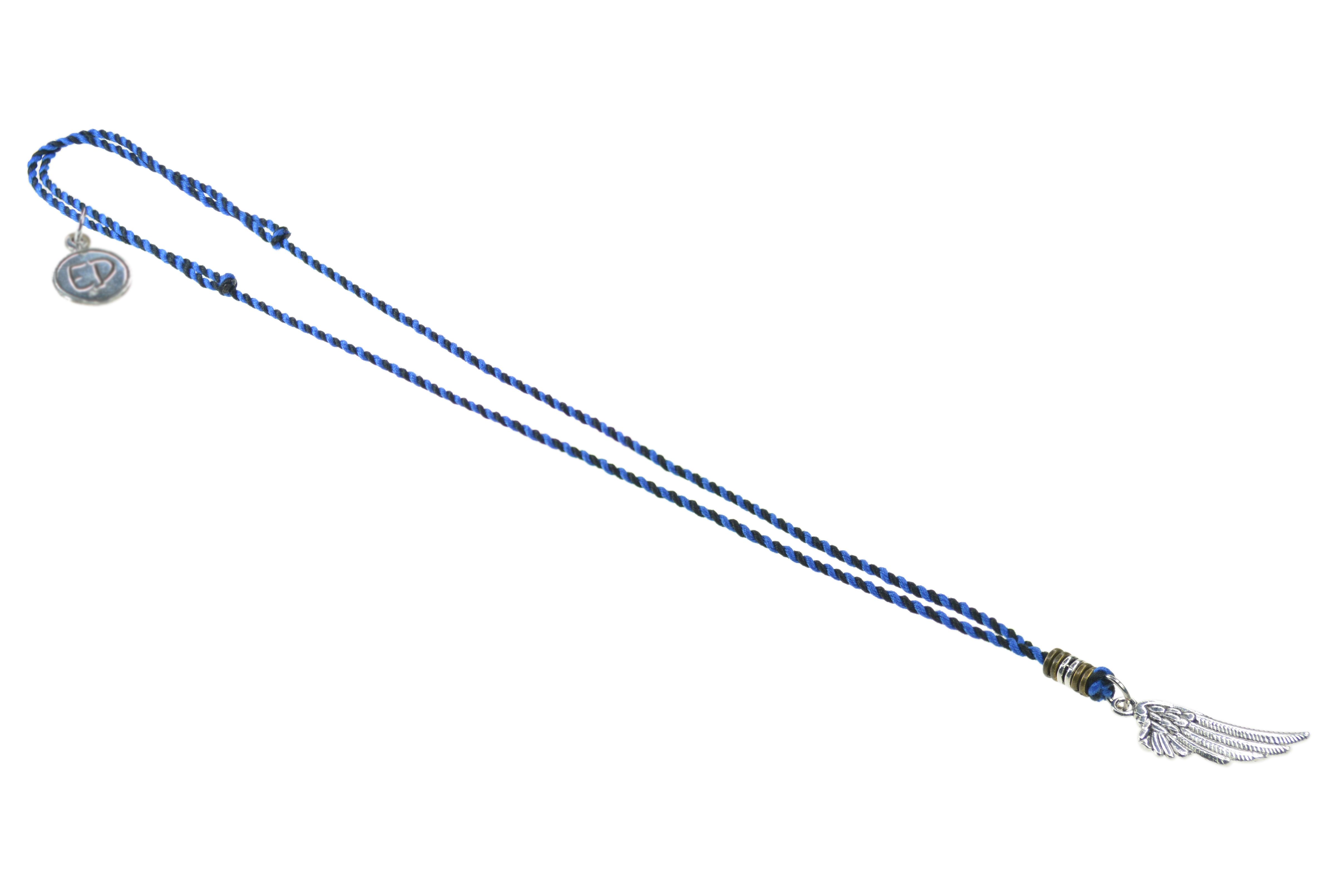Pánsky prírodný náhrdelník s príveskom anjelské krídlo - modrý