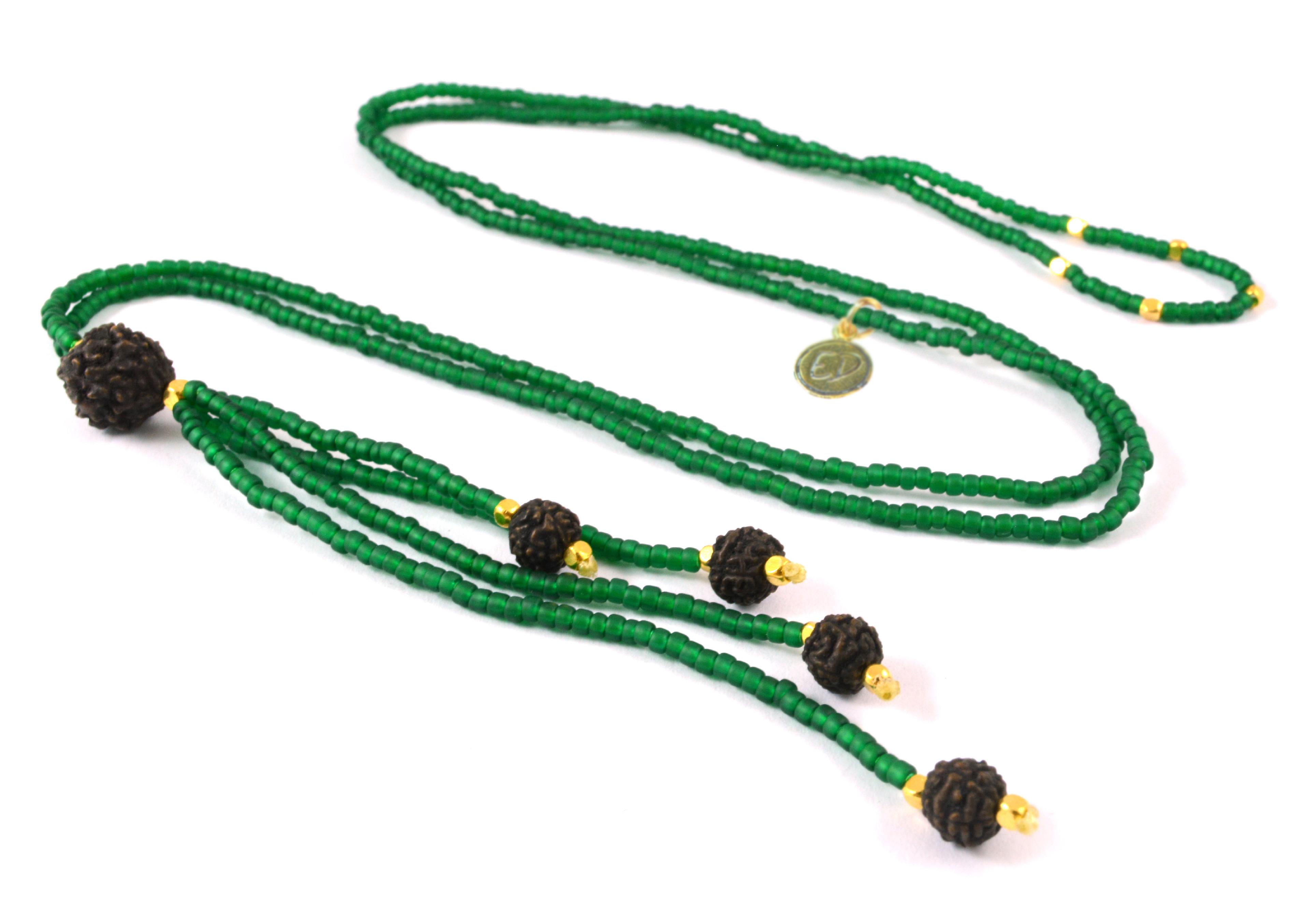 Dámsky prírodný náhrdelník z japonského rokajlu a rudrakshy - zelený