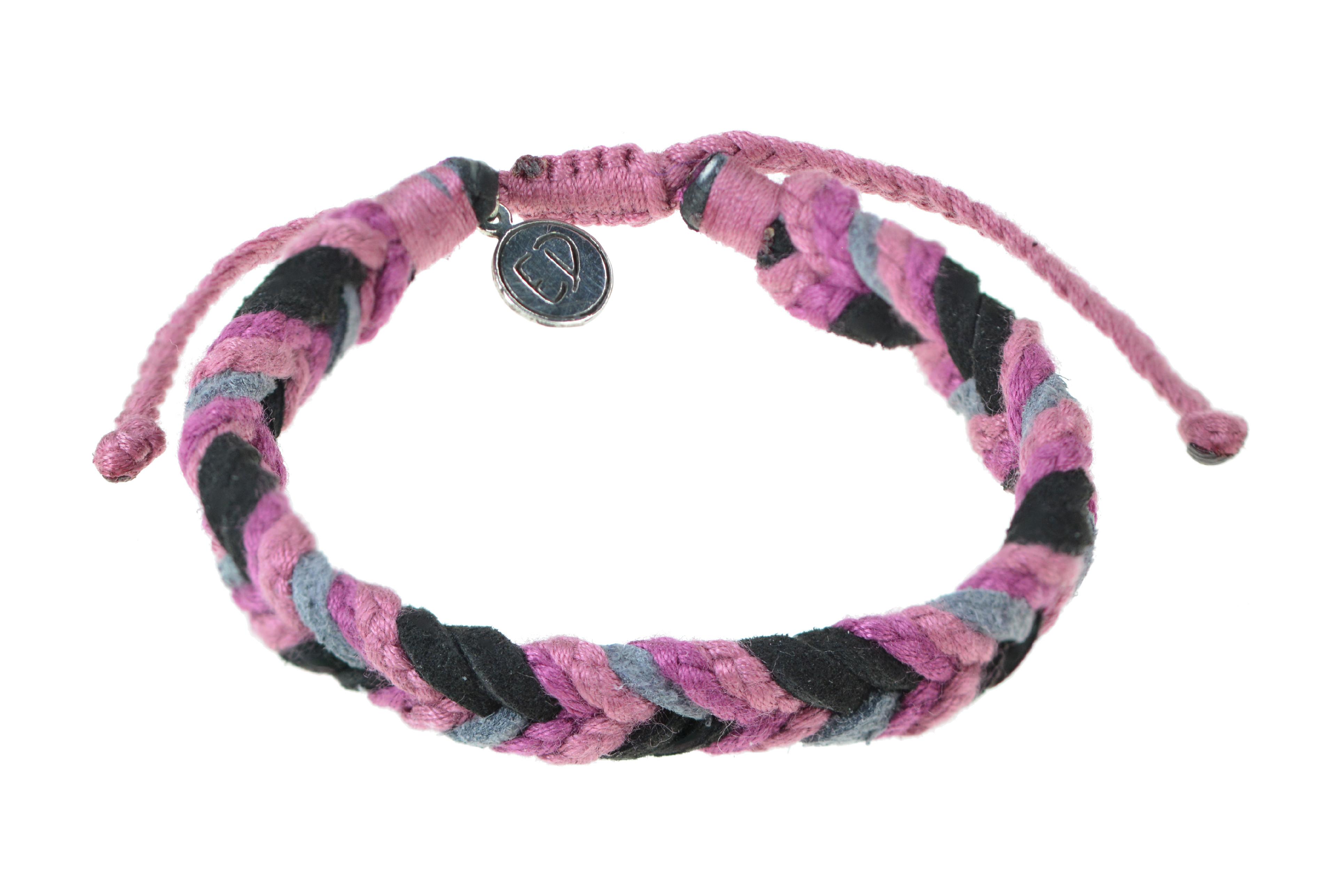 Unisex ručne pletený náramok viacfarebný - ružová, sivá, čierna