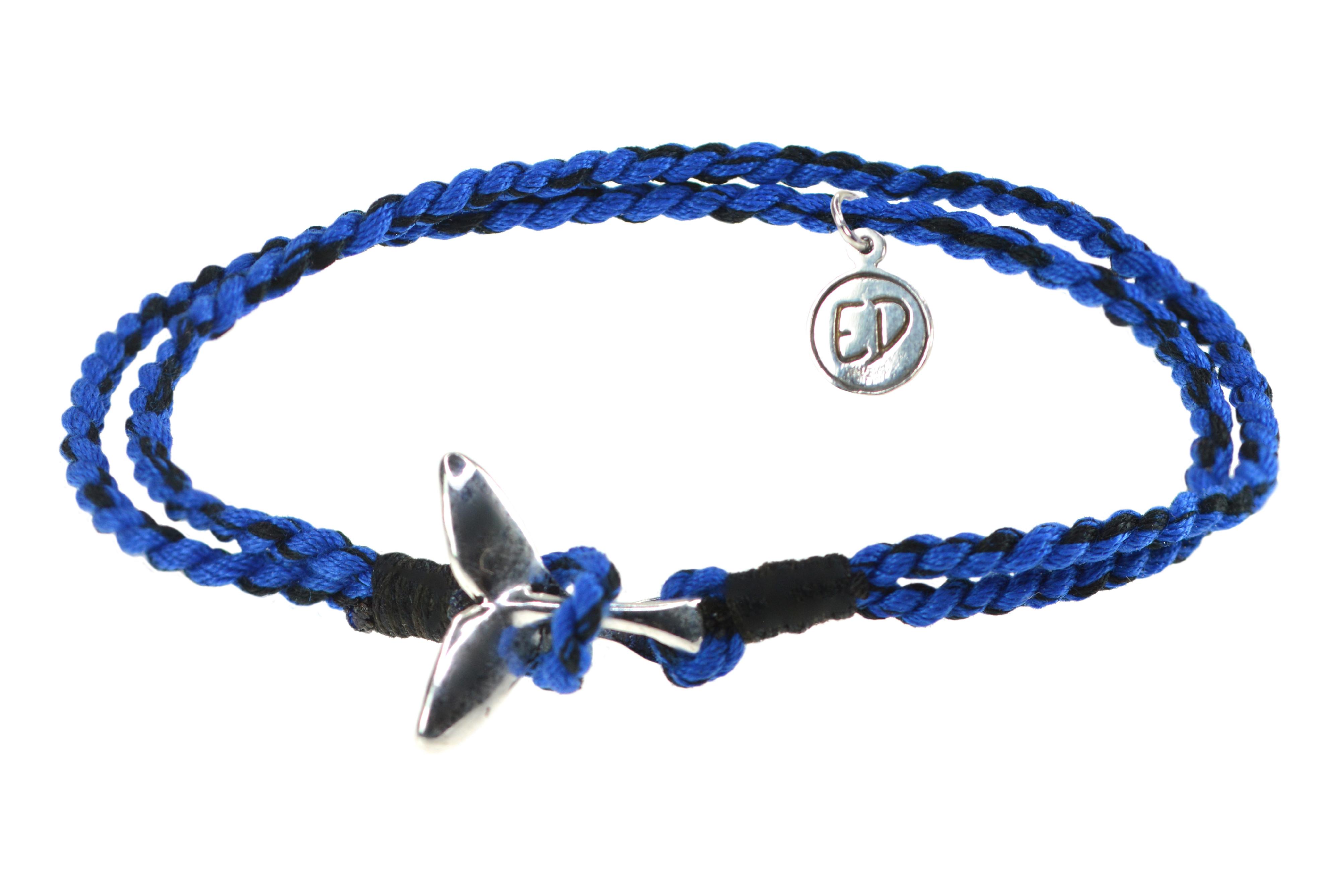 Pánsky prírodný náramok s motívom veľryba - modrý