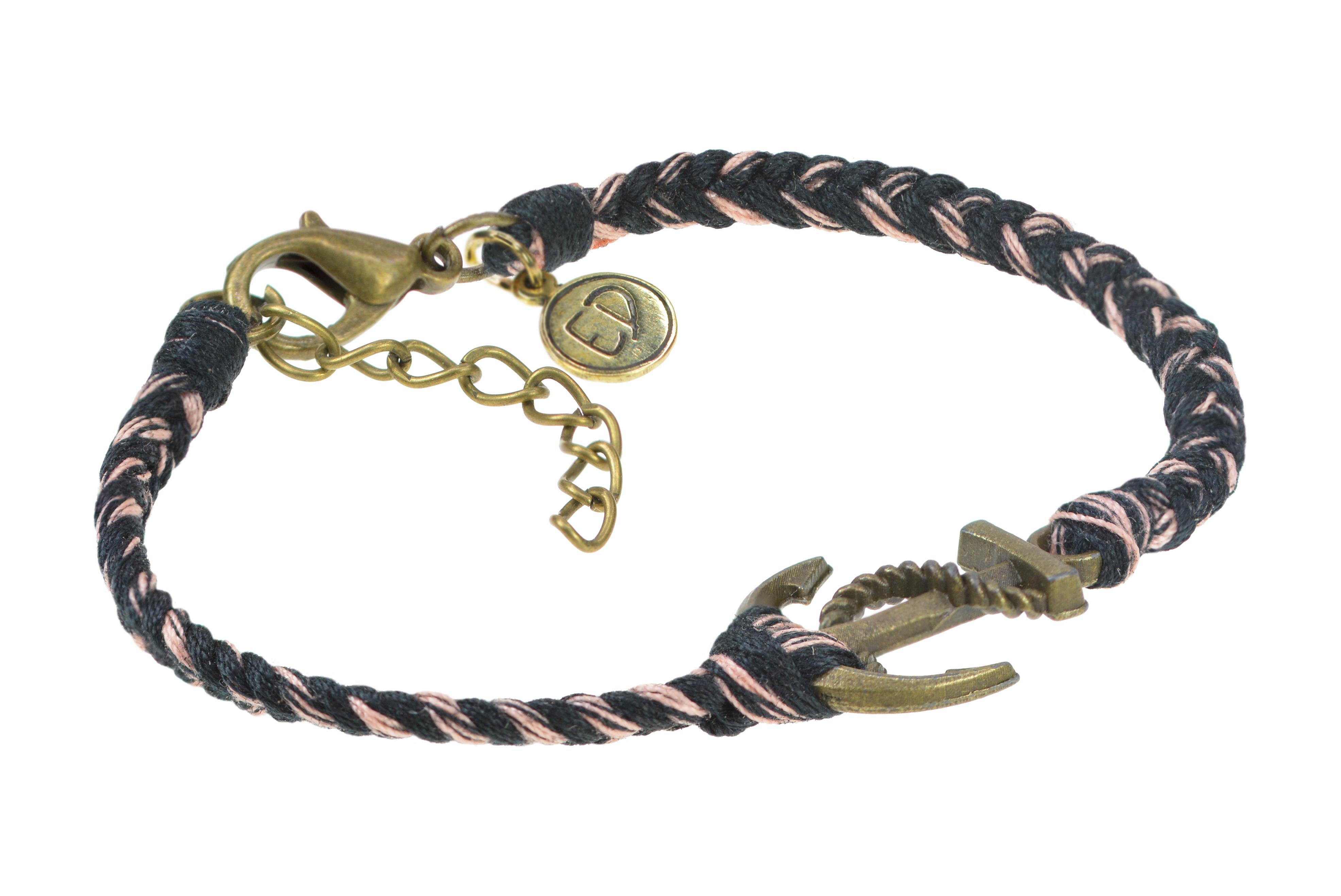 Pánsky pletený náramok s motívom kotva - hnedý