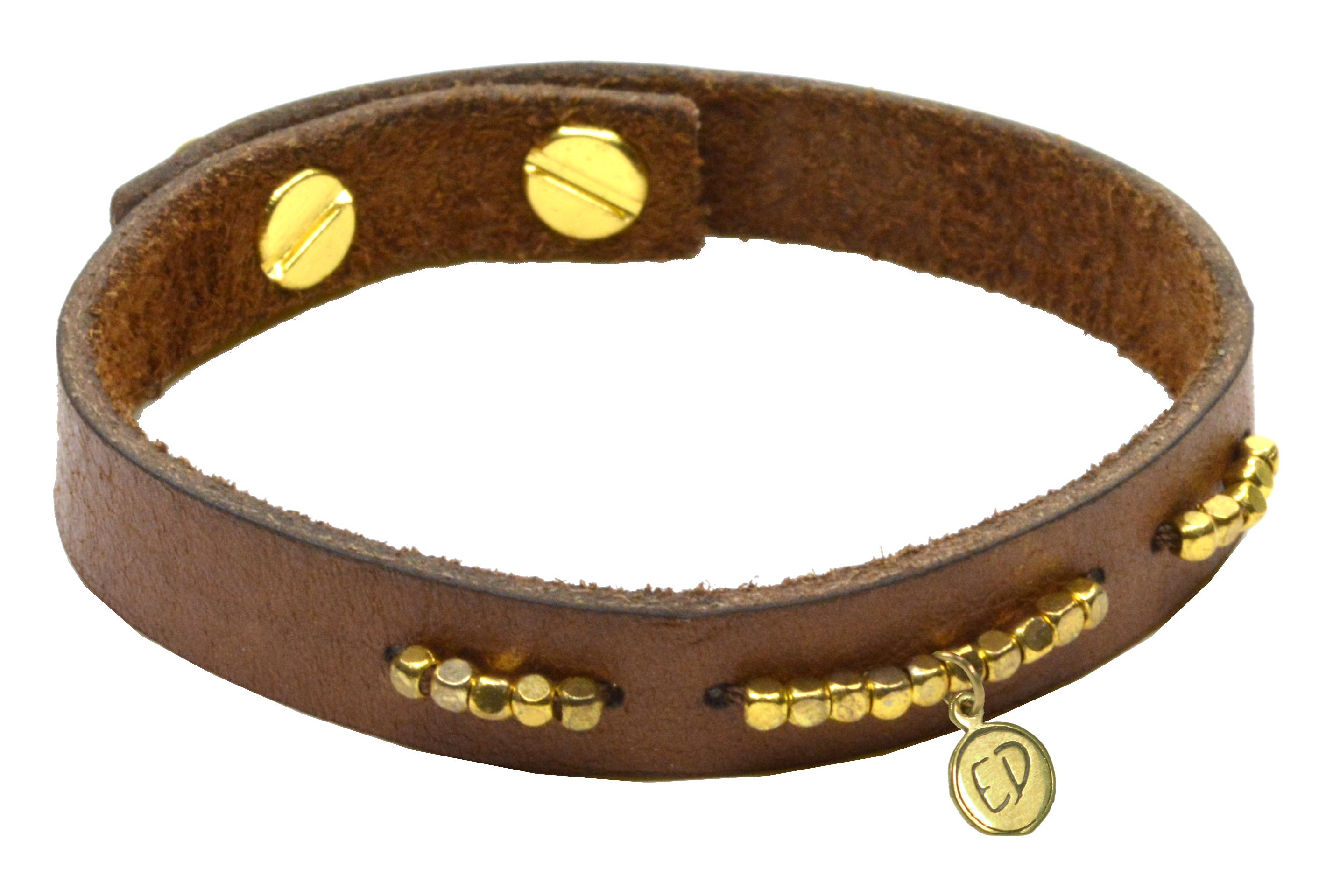 Kožený náramok s korálkami  - zlatý