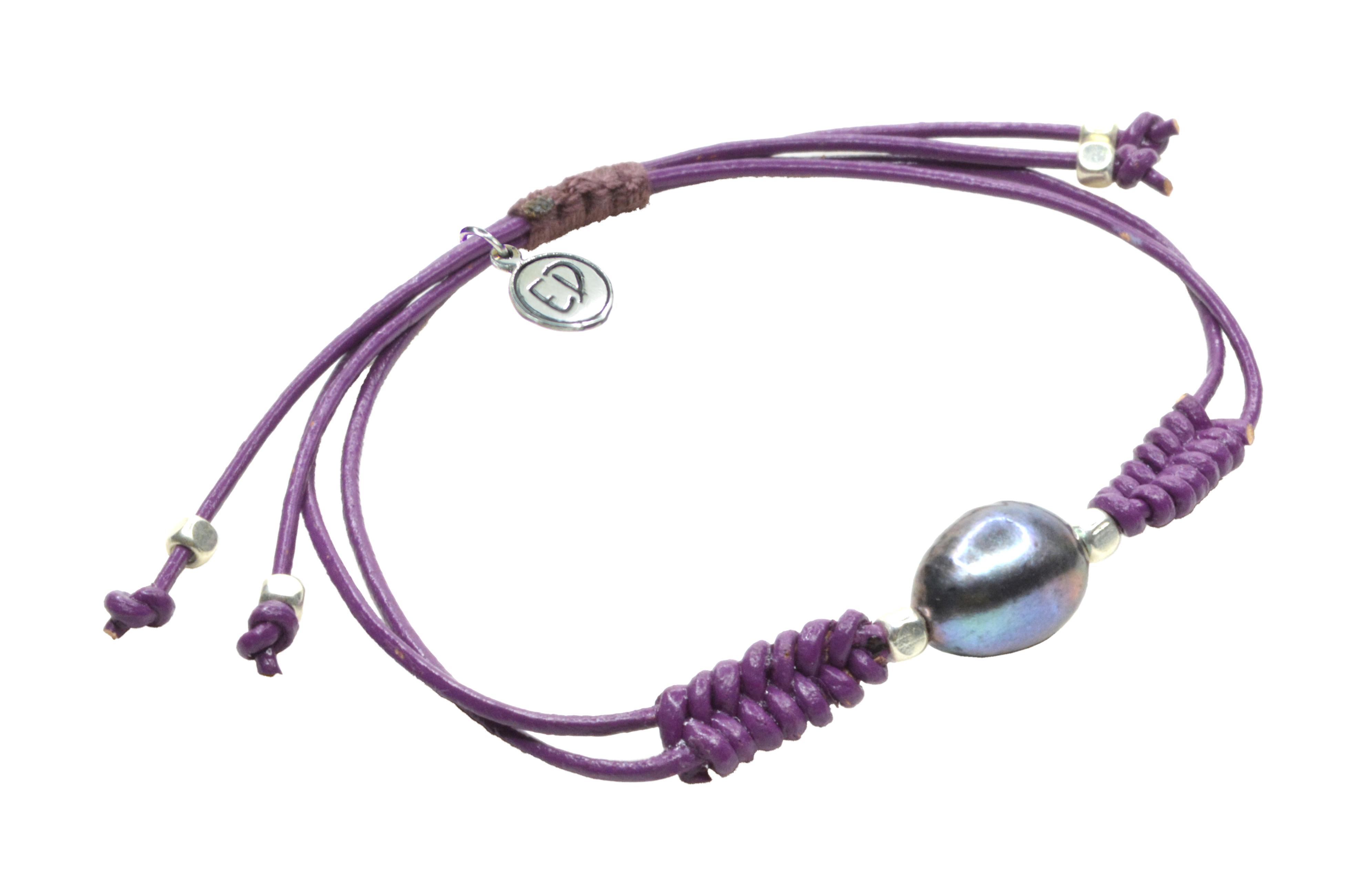 Dámsky kožený náramok s perlou  - fialový