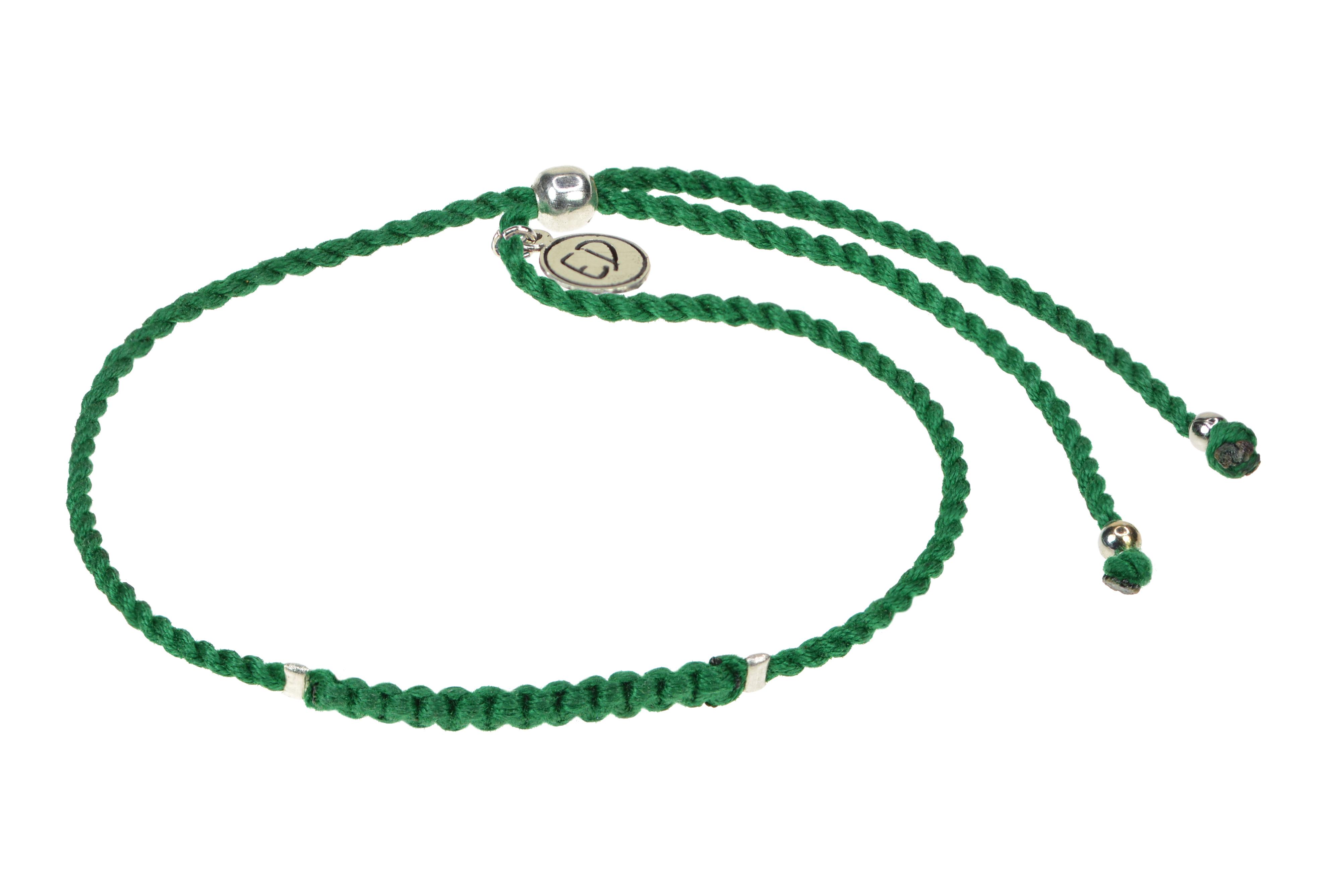 Dámsky pletený náramok s korálkami  - zelený