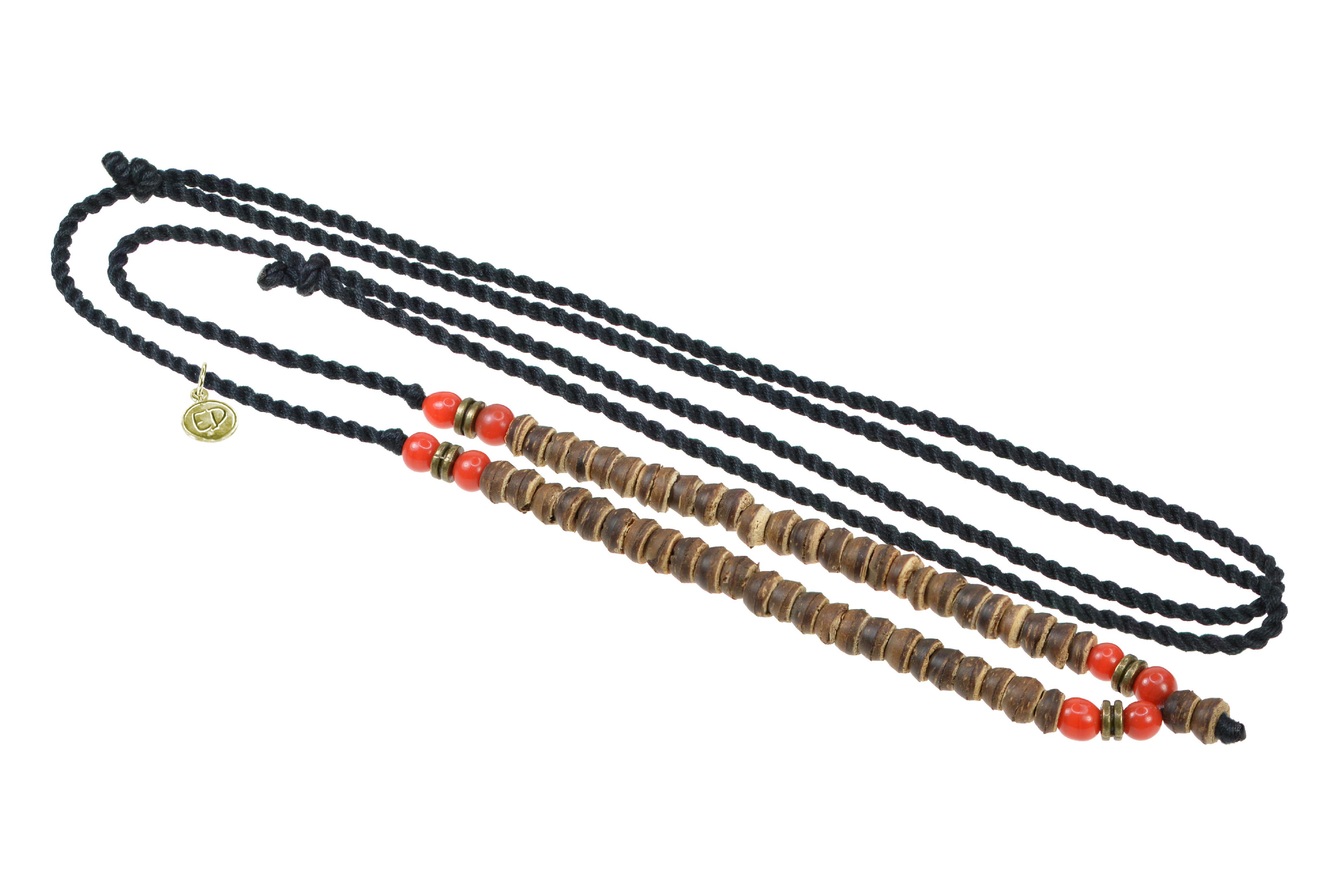 Unisex pletený náhrdelník s drevenými a jávskymi korálkami - červený