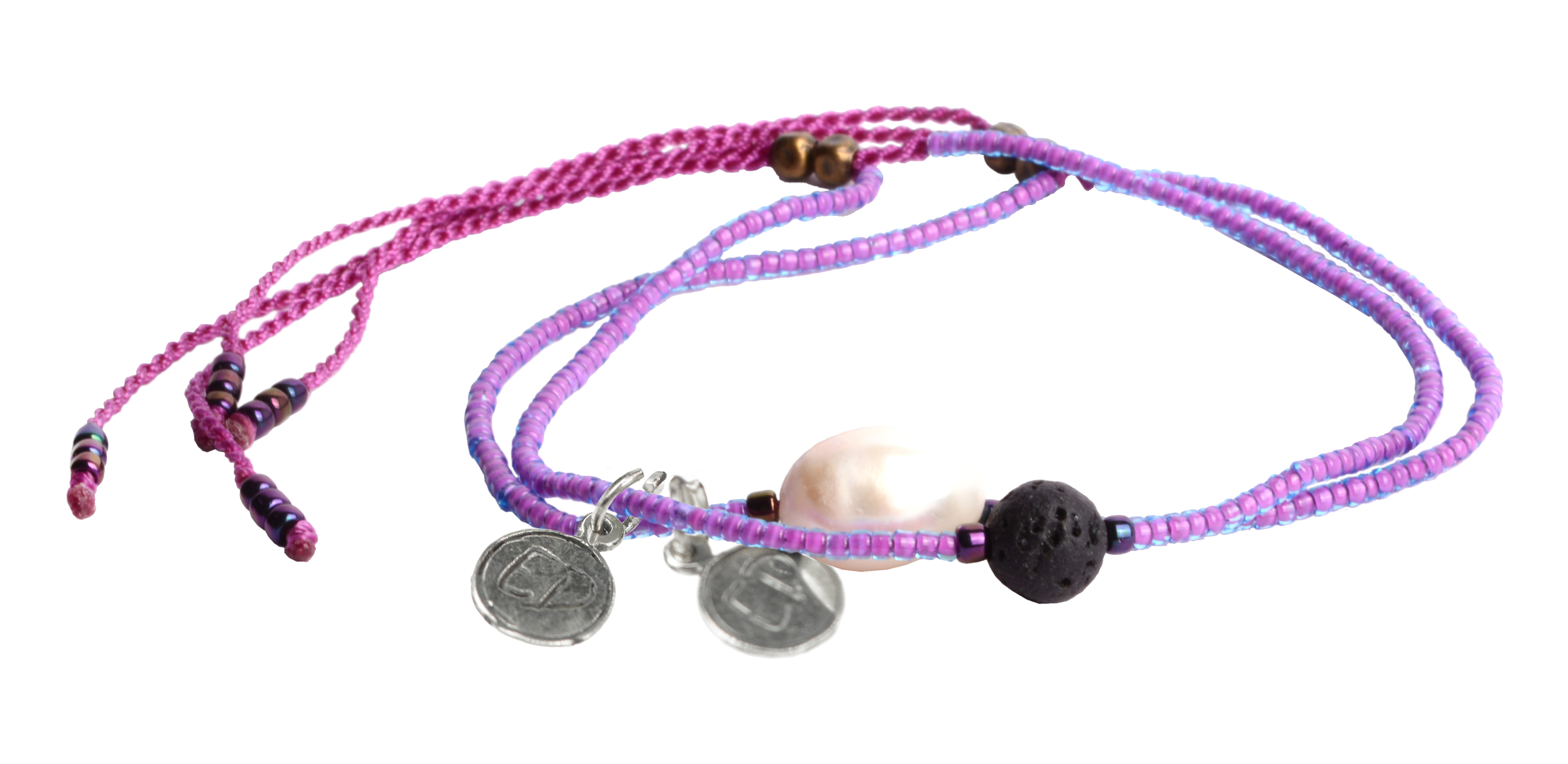 Set náramkov s lávovým kameňom a riečnou perlou - fialový