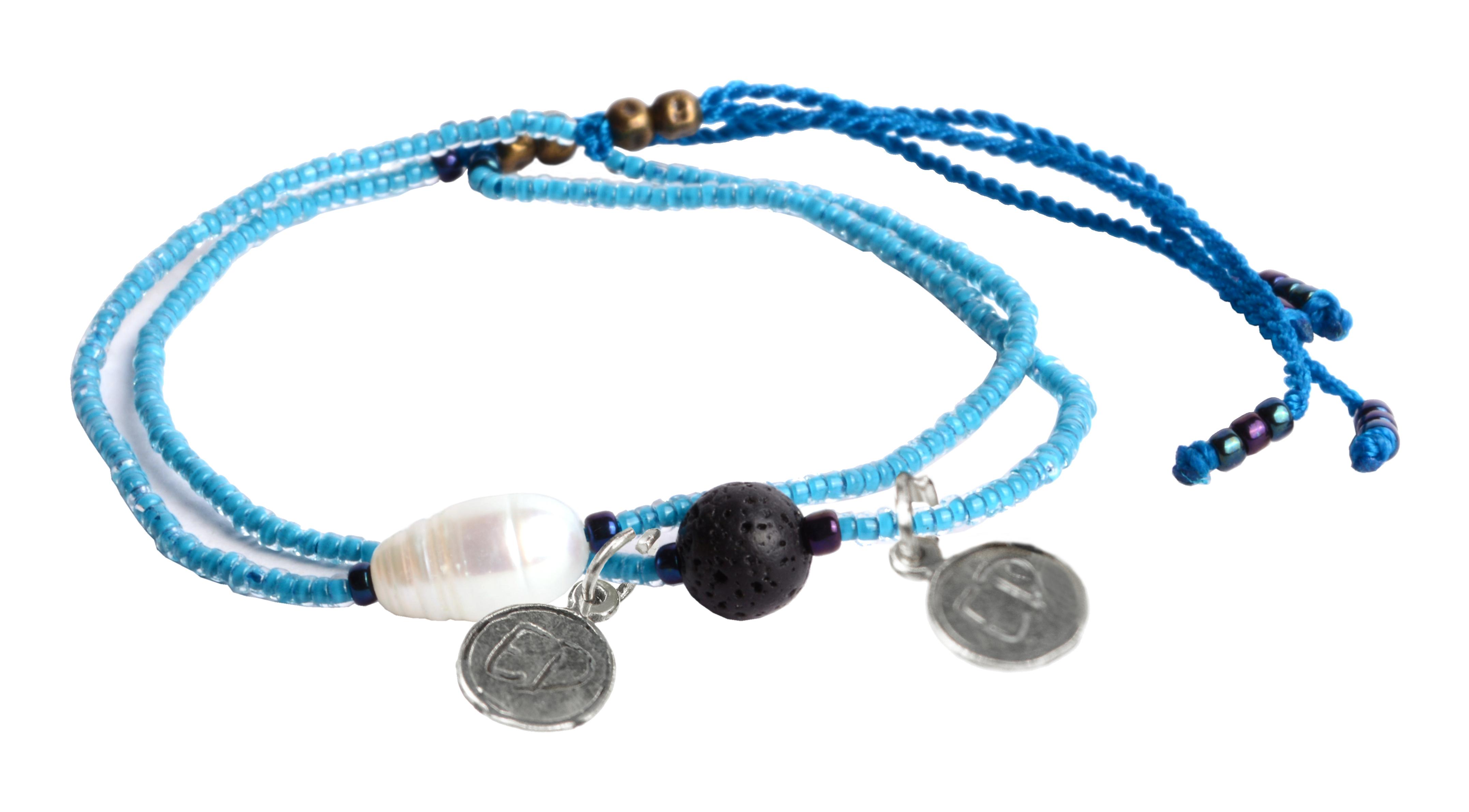 Set náramkov s lávovým kameňom a riečnou perlou - modrý