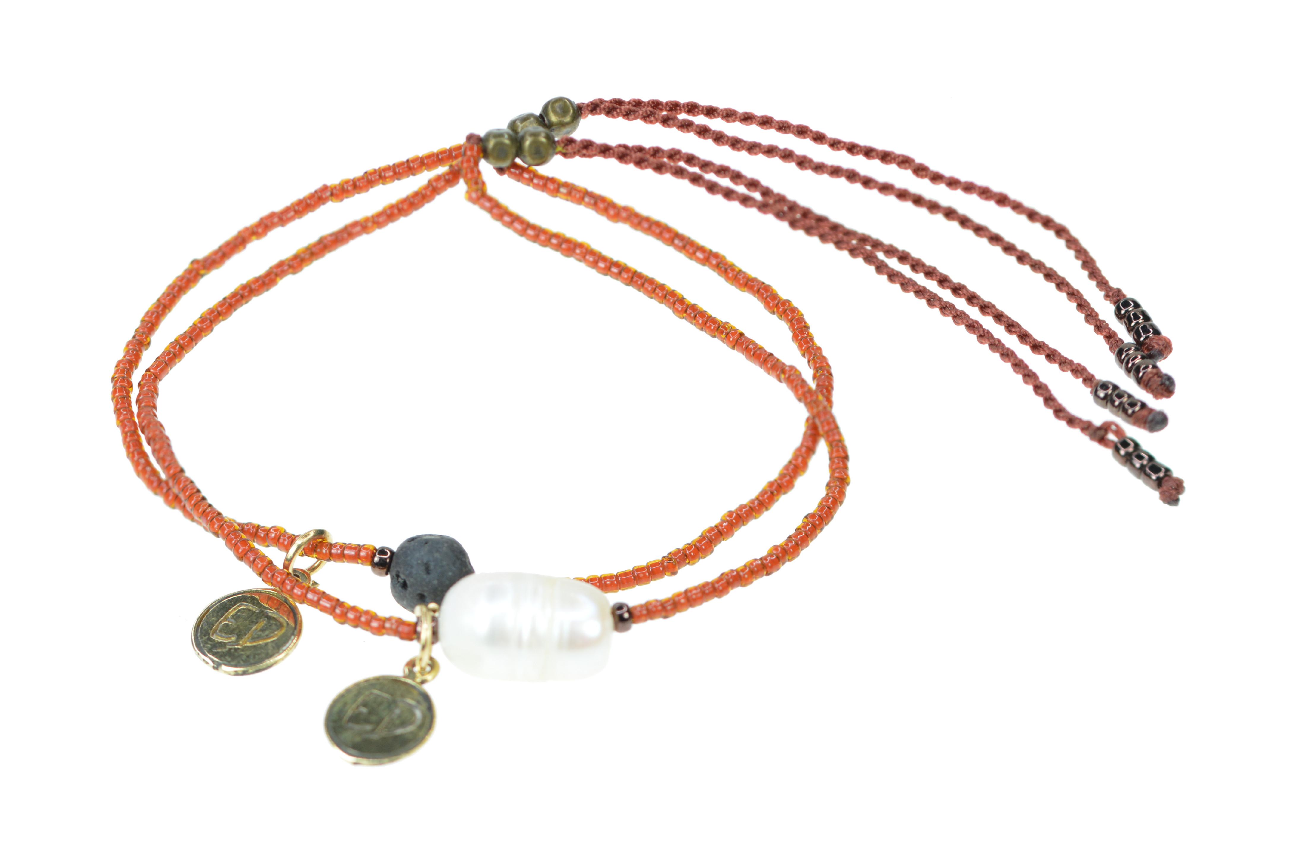 Set náramkov s lávovým kameňom a riečnou perlou - sýto - oranžová