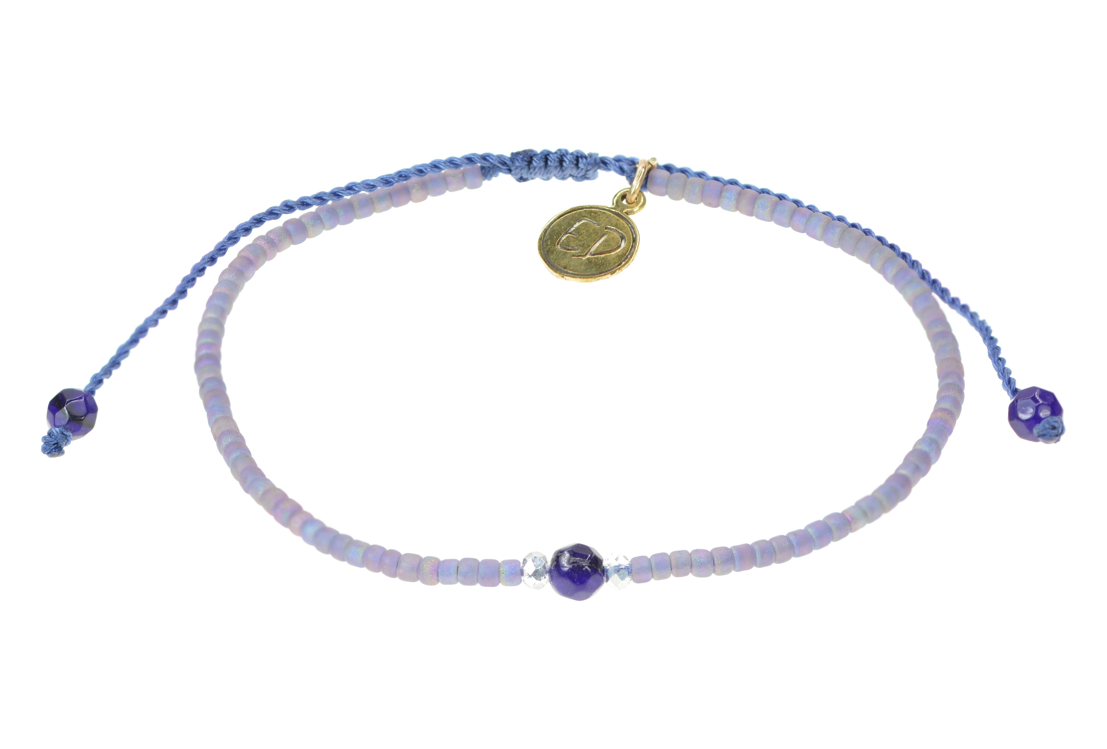 Náramok z japonského rokajlu a achátu - fialový