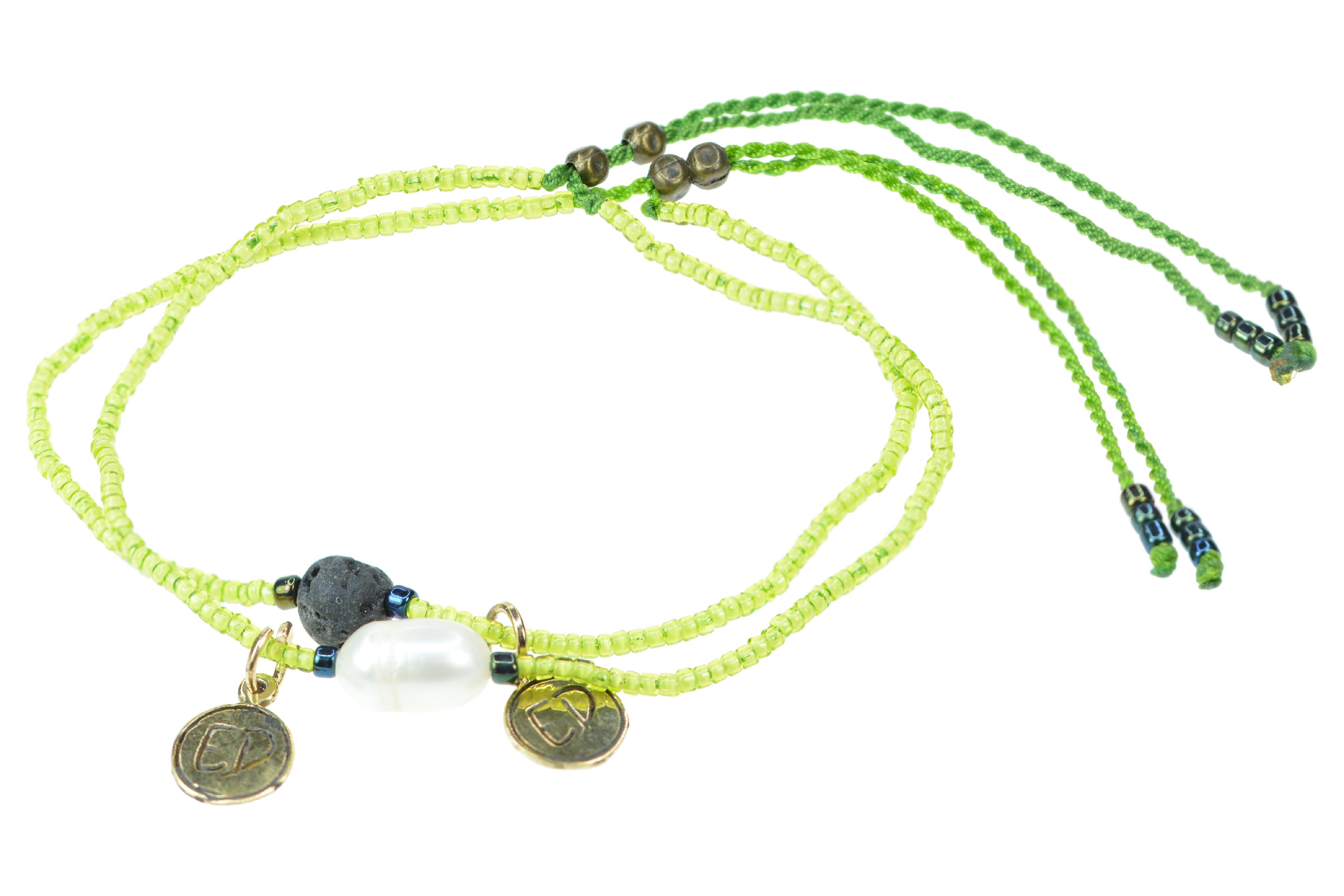 Set náramkov s lávovým kameňom a riečnou perlou - zelený