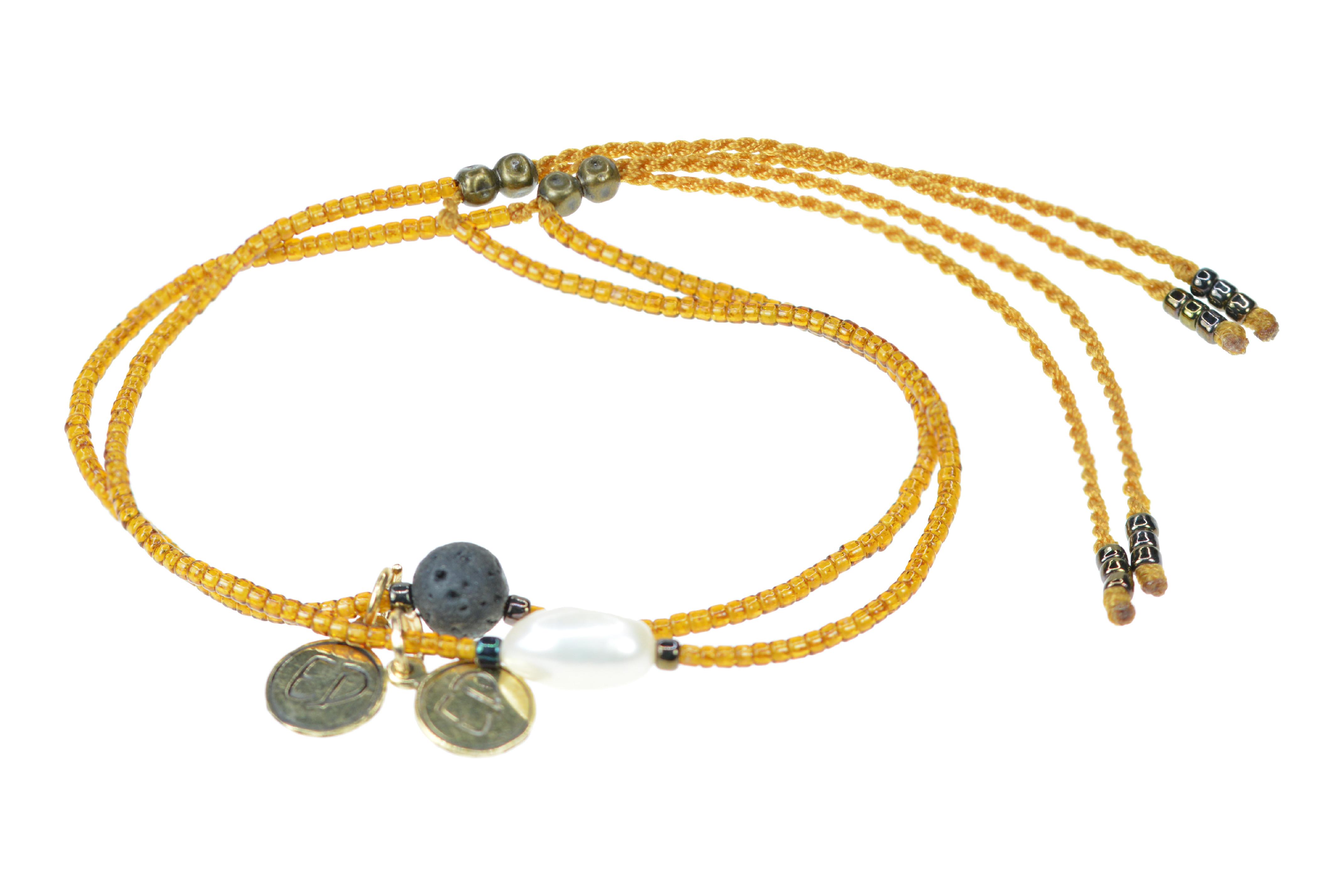 Set náramkov s lávovým kameňom a riečnou perlou - oranžový