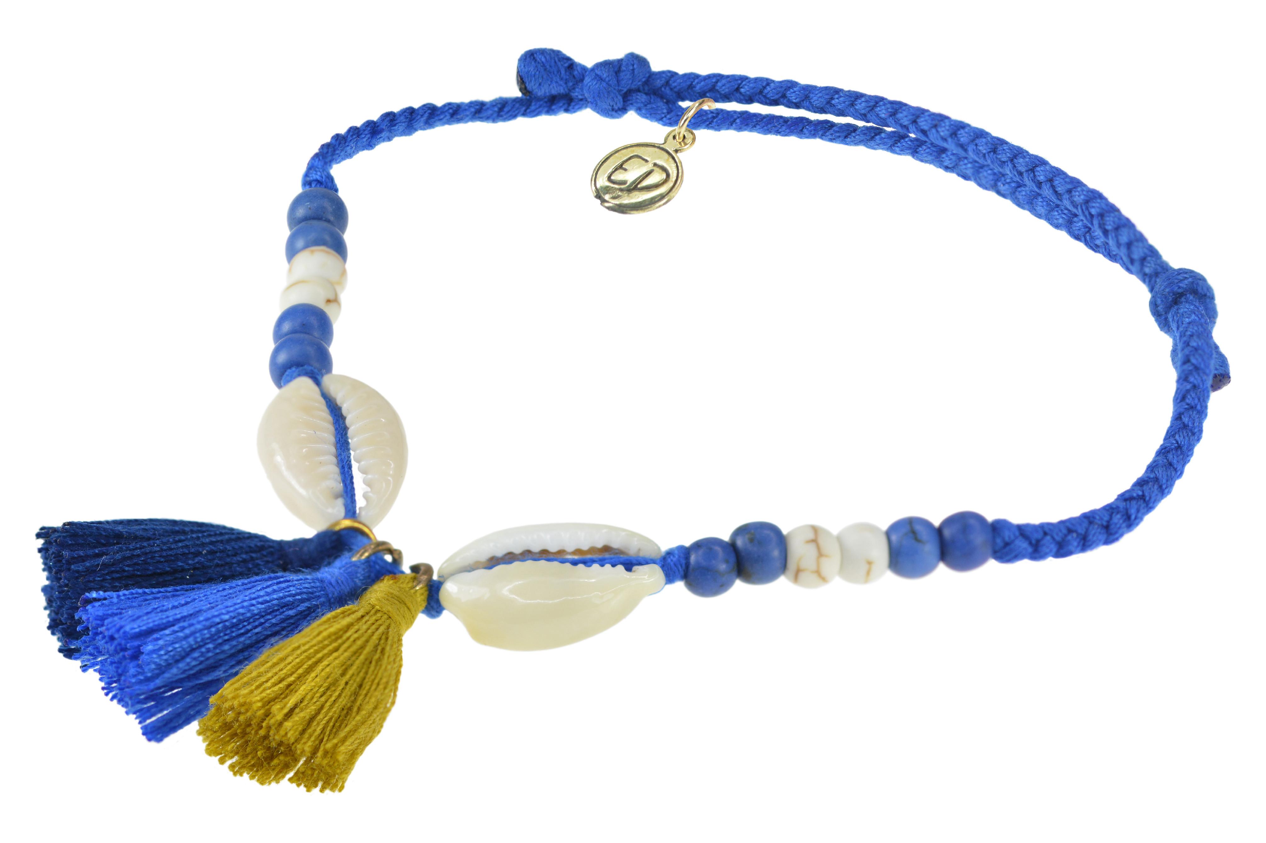 Dámsky pletený náramok s mušľami a strapcami - ultramarine