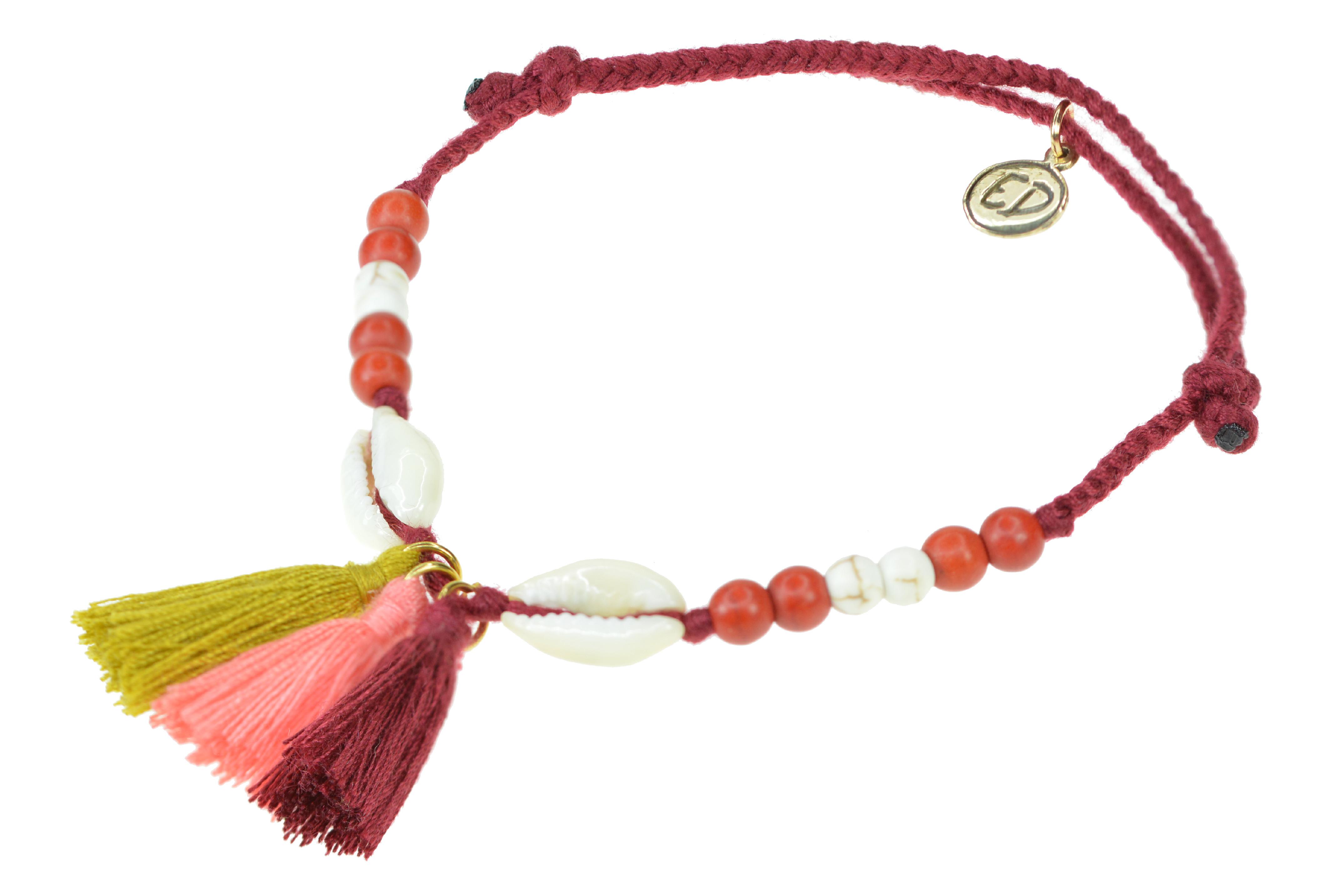 Dámsky pletený náramok s mušľami a strapcami - červený