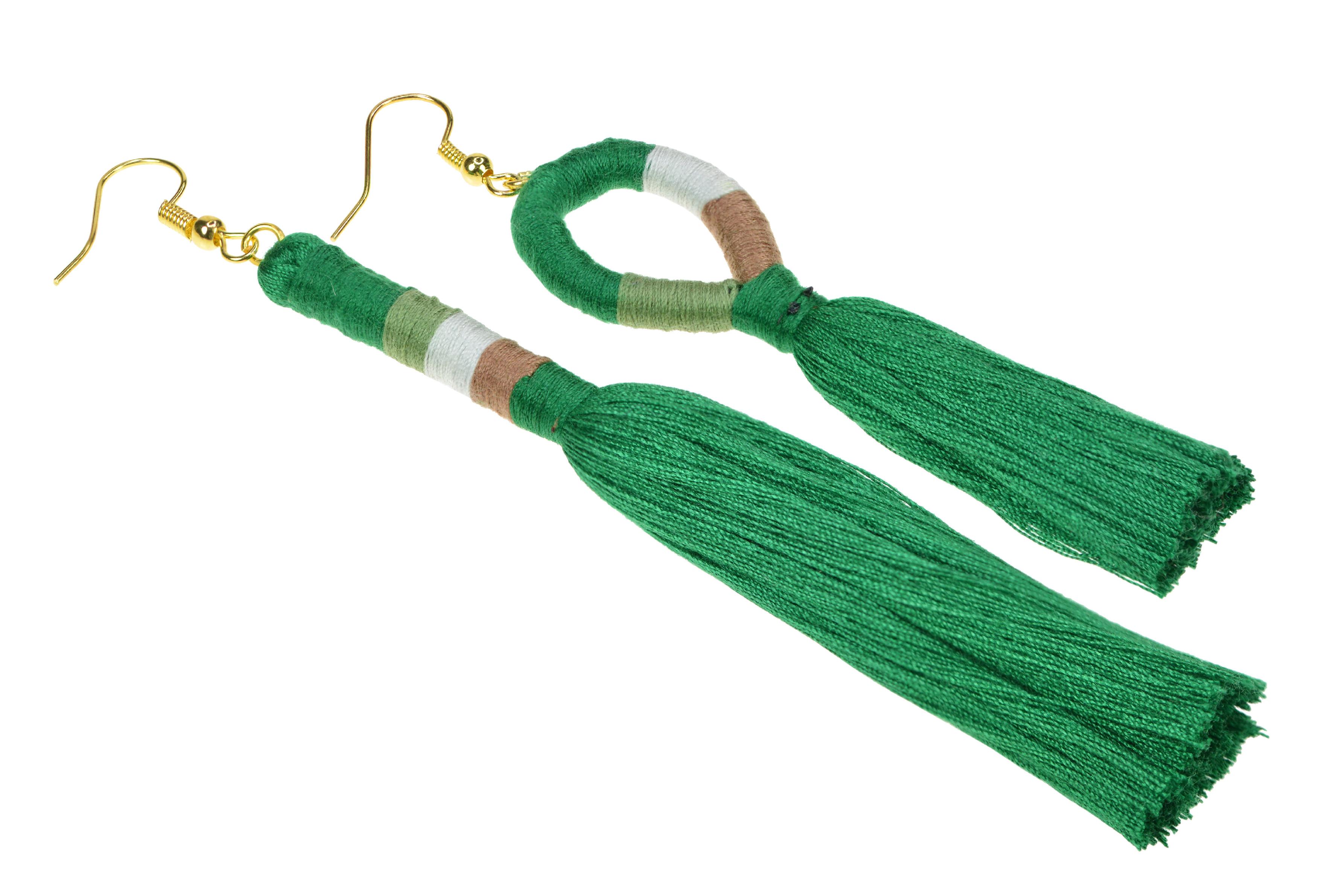Dámske strapcové handmade náušnice - zelené