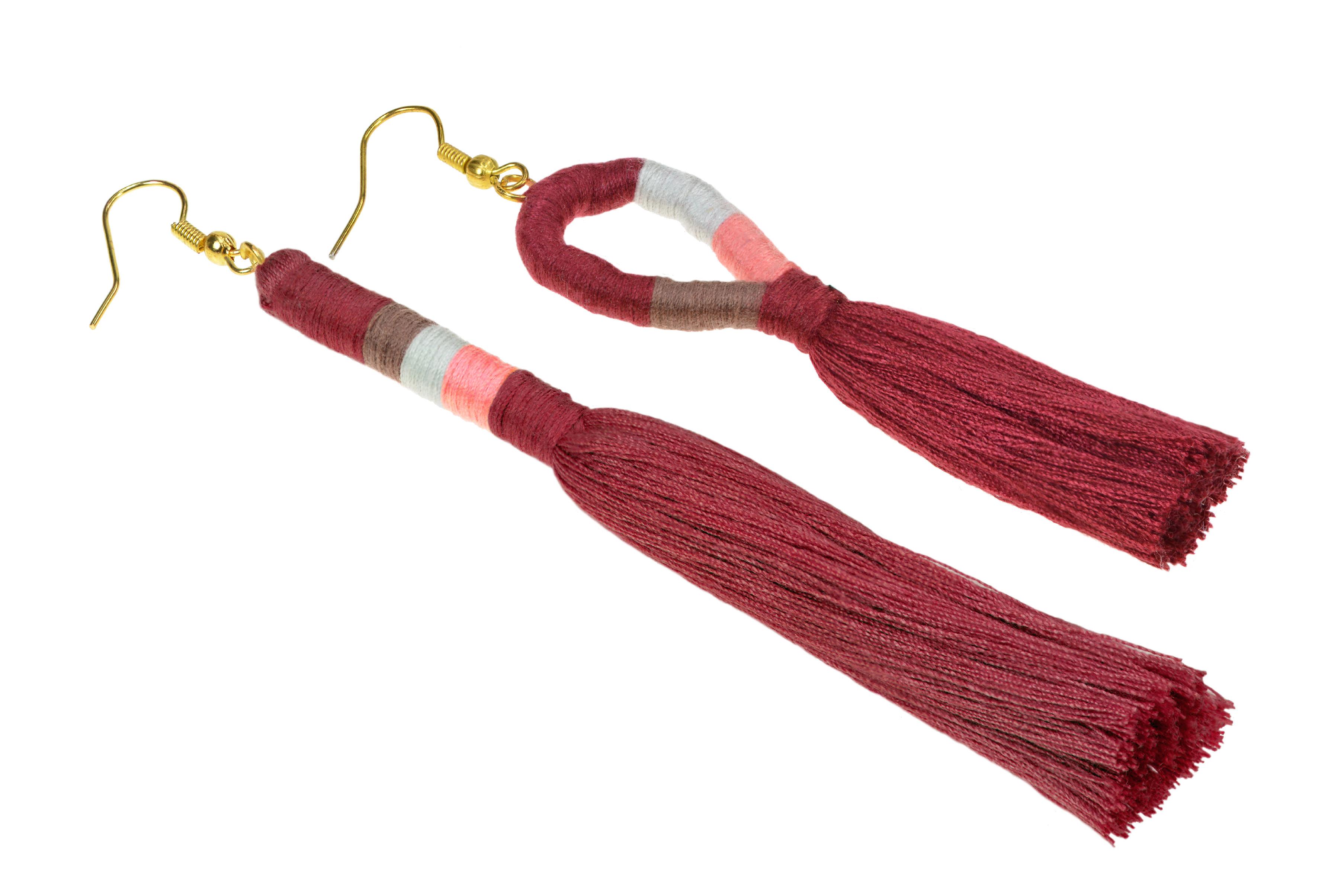Dámske strapcové handmade náušnice - červené