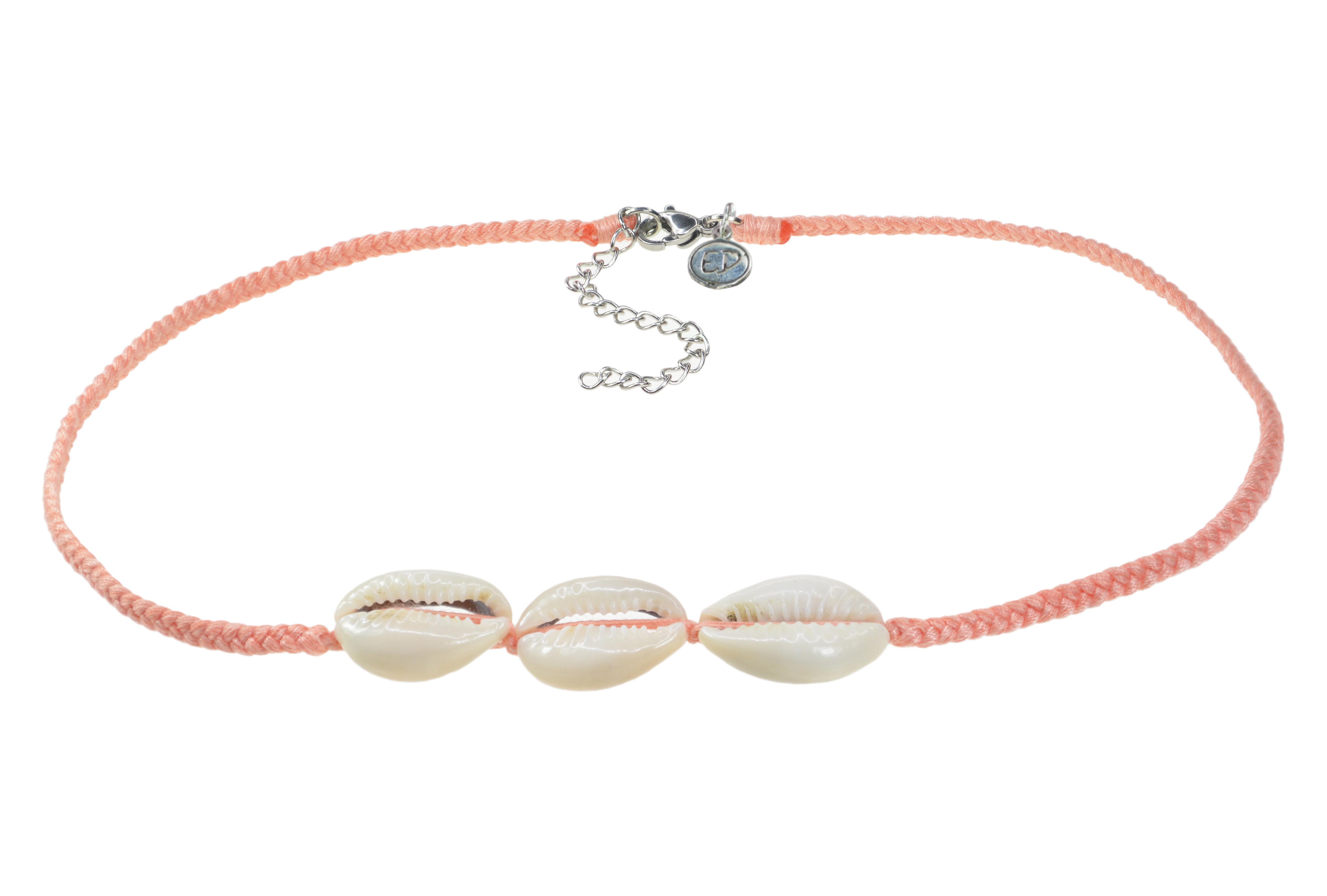 Dámsky ručne pletený náhrdelník  s tromi mušľami - Cantaloupe