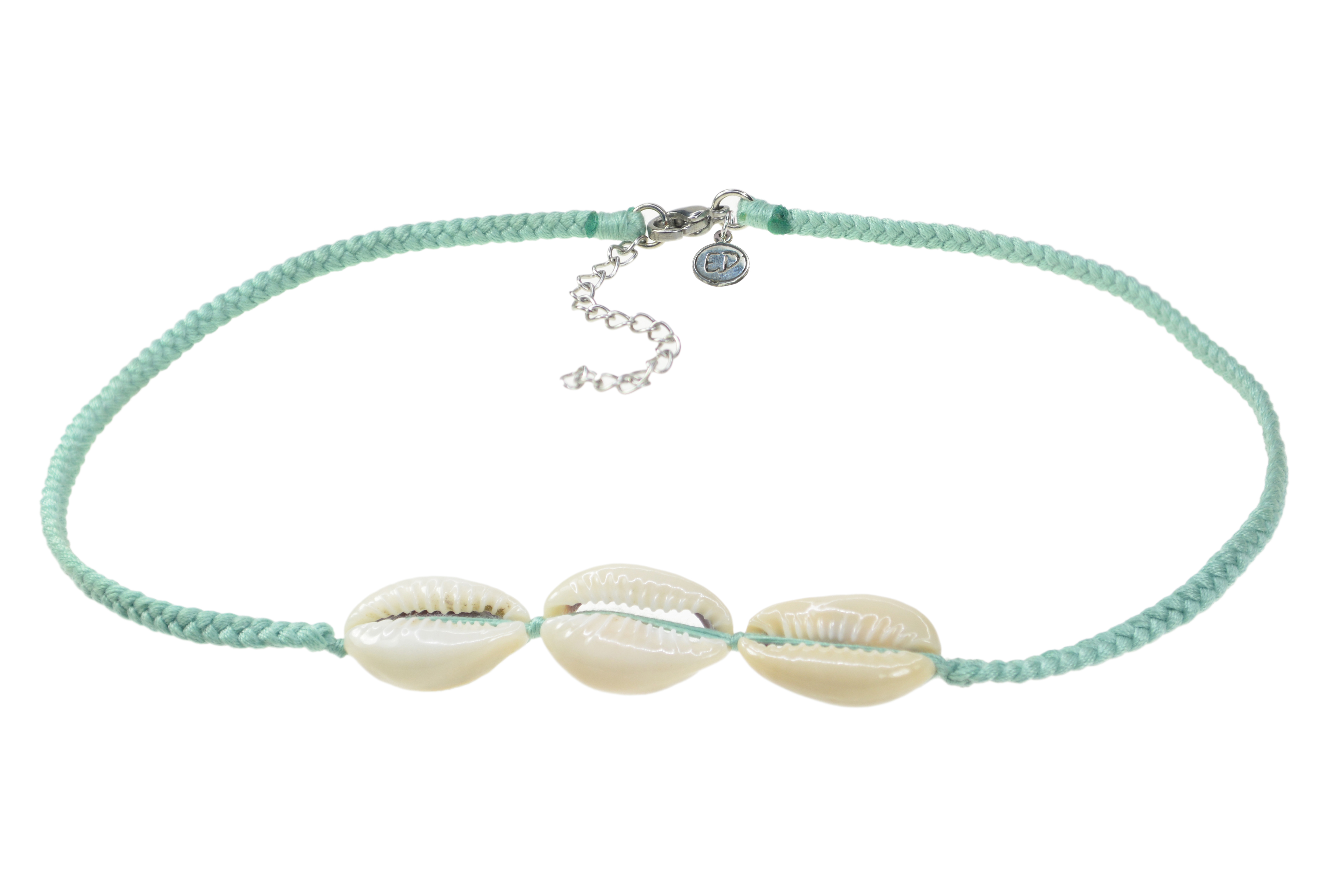 Dámsky ručne pletený náhrdelník  s tromi mušľami - Neo Mint