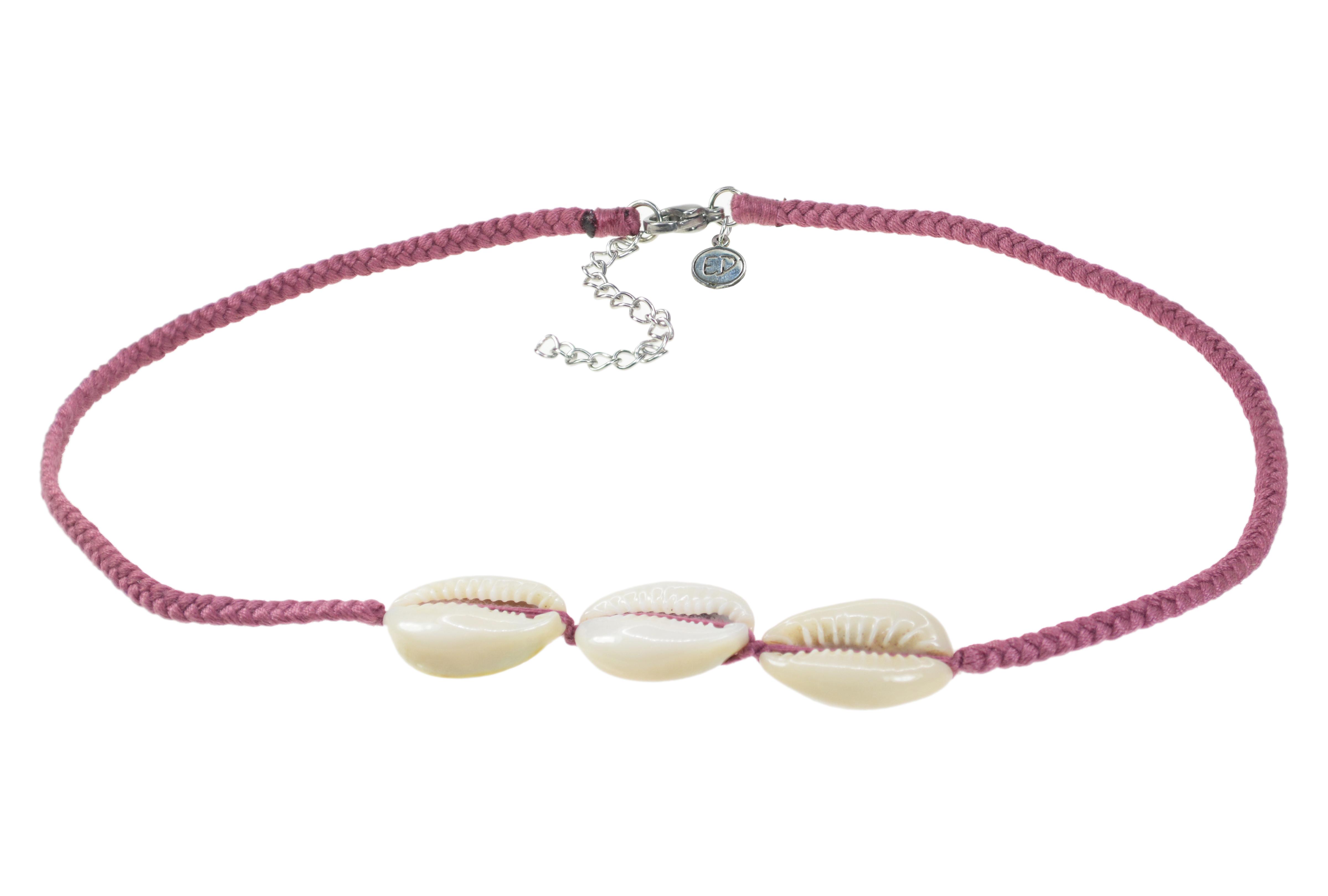 Dámsky ručne pletený náhrdelník  s tromi mušľami - Cassis