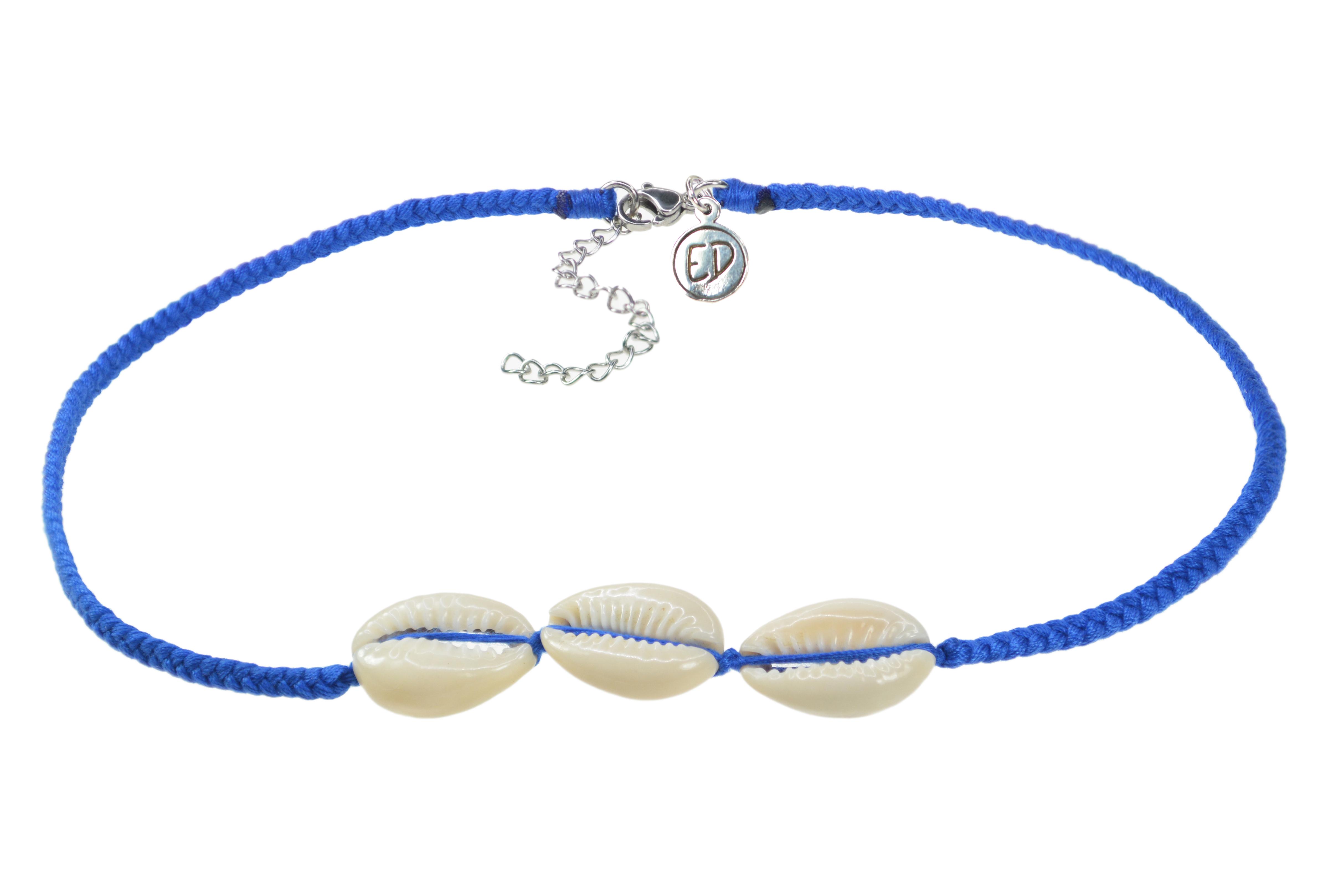 Dámsky ručne pletený náhrdelník  s tromi mušľami - Ultramarine
