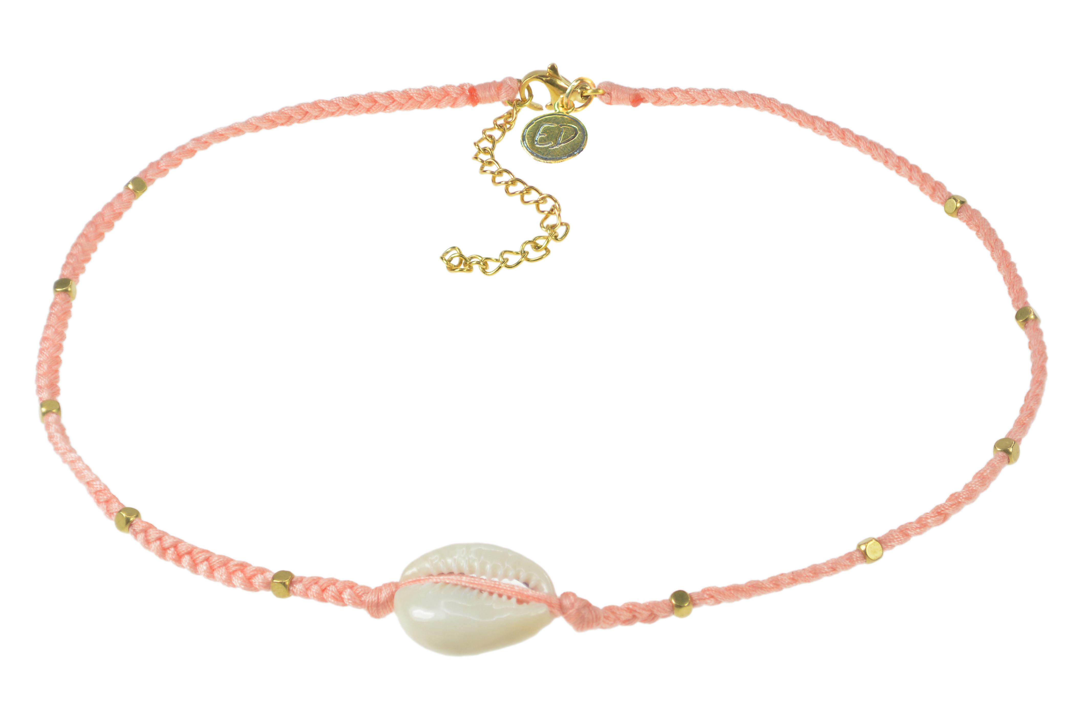 Dámsky ručne pletený náhrdelník  s mušľou a korálkami - Cantaloupe