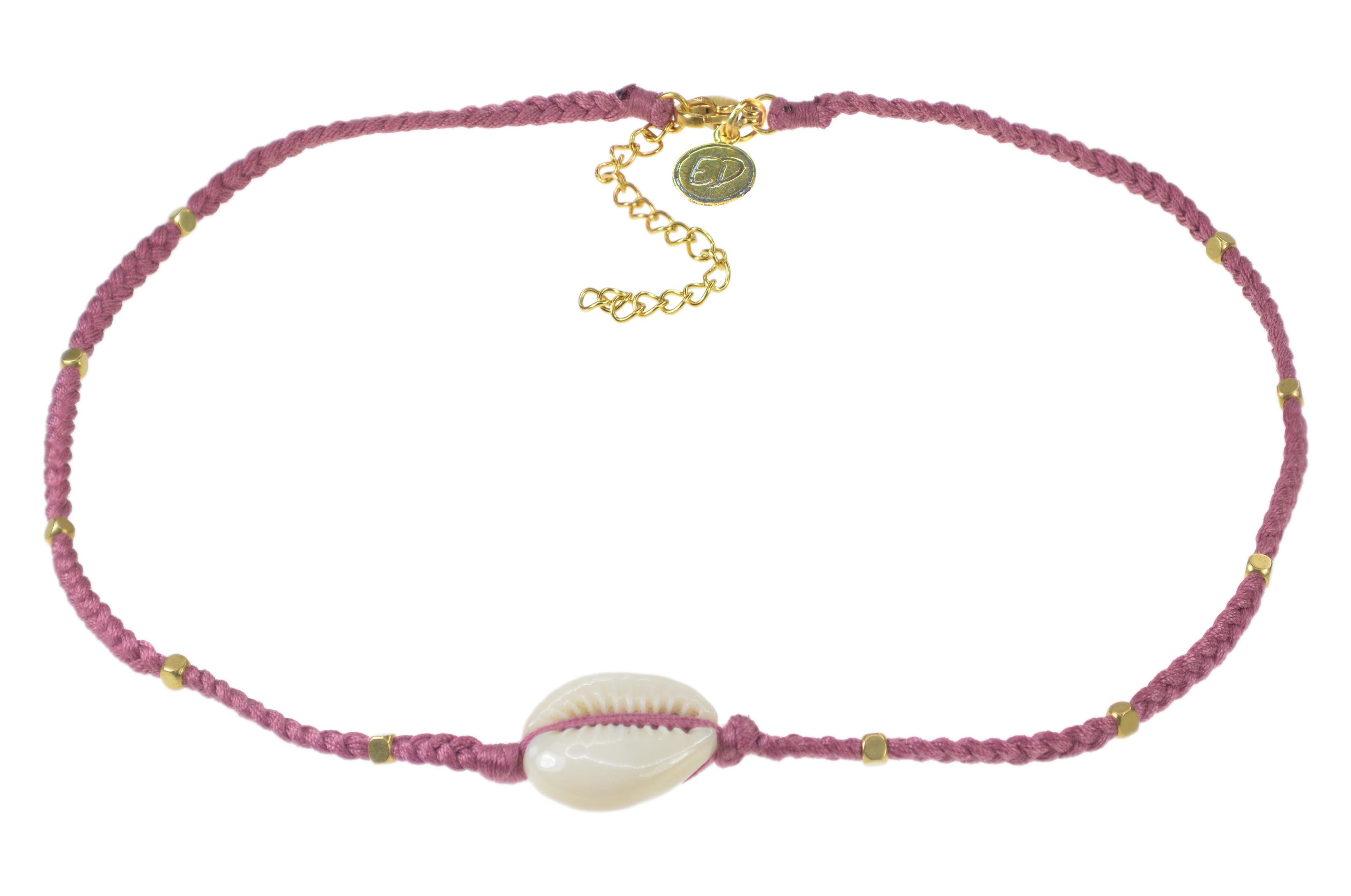 Dámsky ručne pletený náhrdelník  s mušľou a korálkami - Cassis