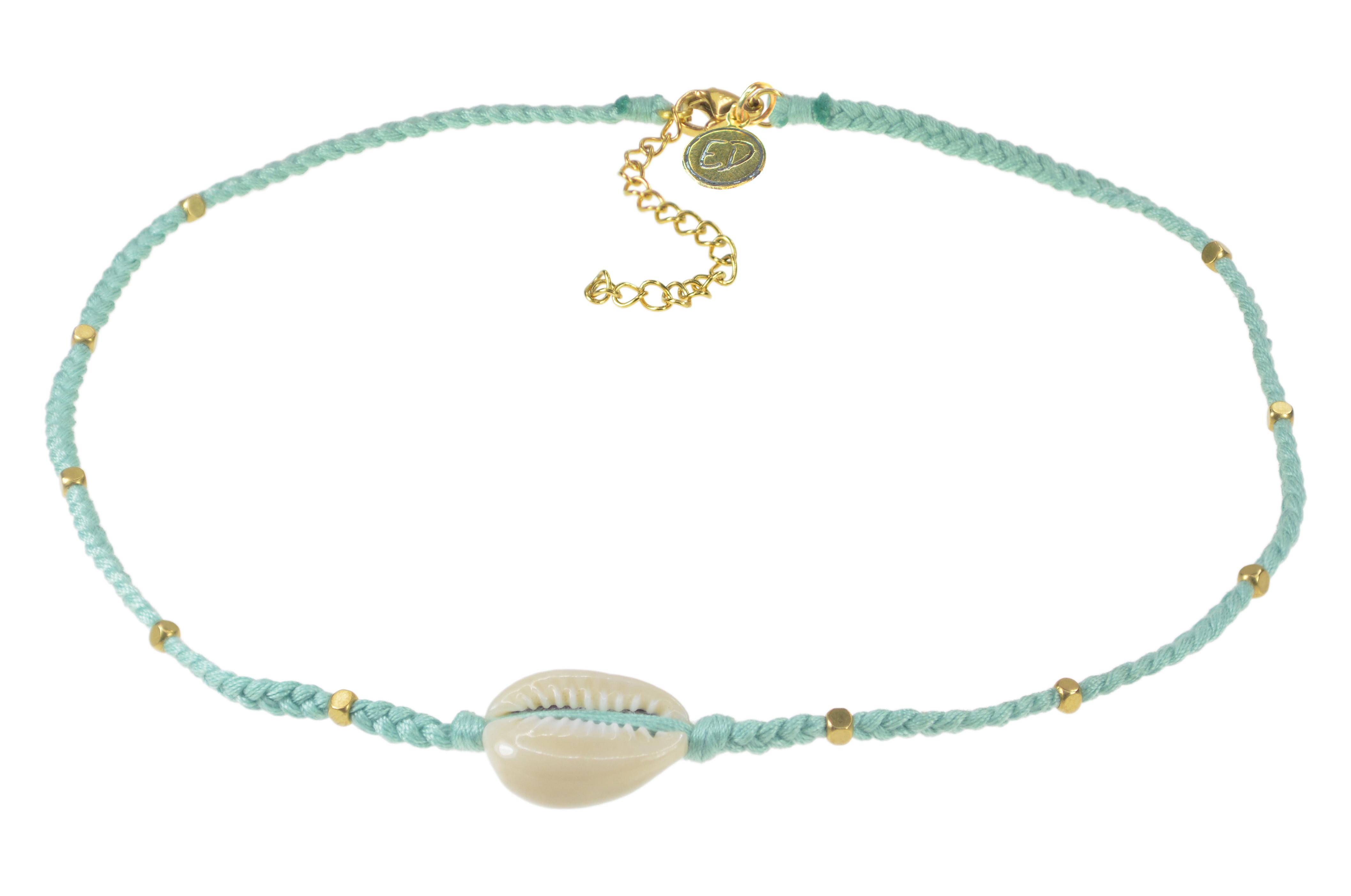 Dámsky ručne pletený náhrdelník  s mušľou a korálkami - Neo Mint