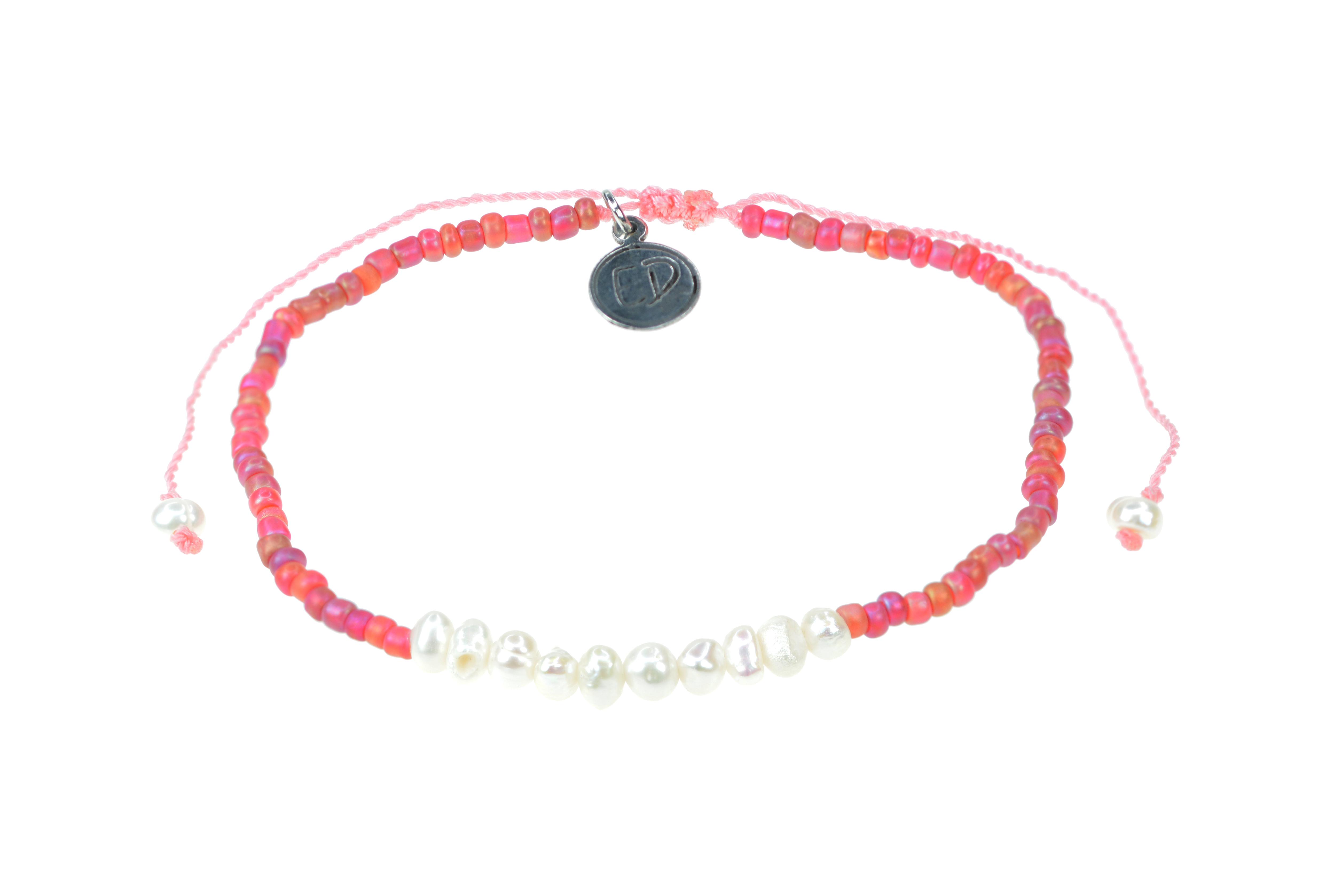 Náramok z japonského rokajlu s perličkami - ružový