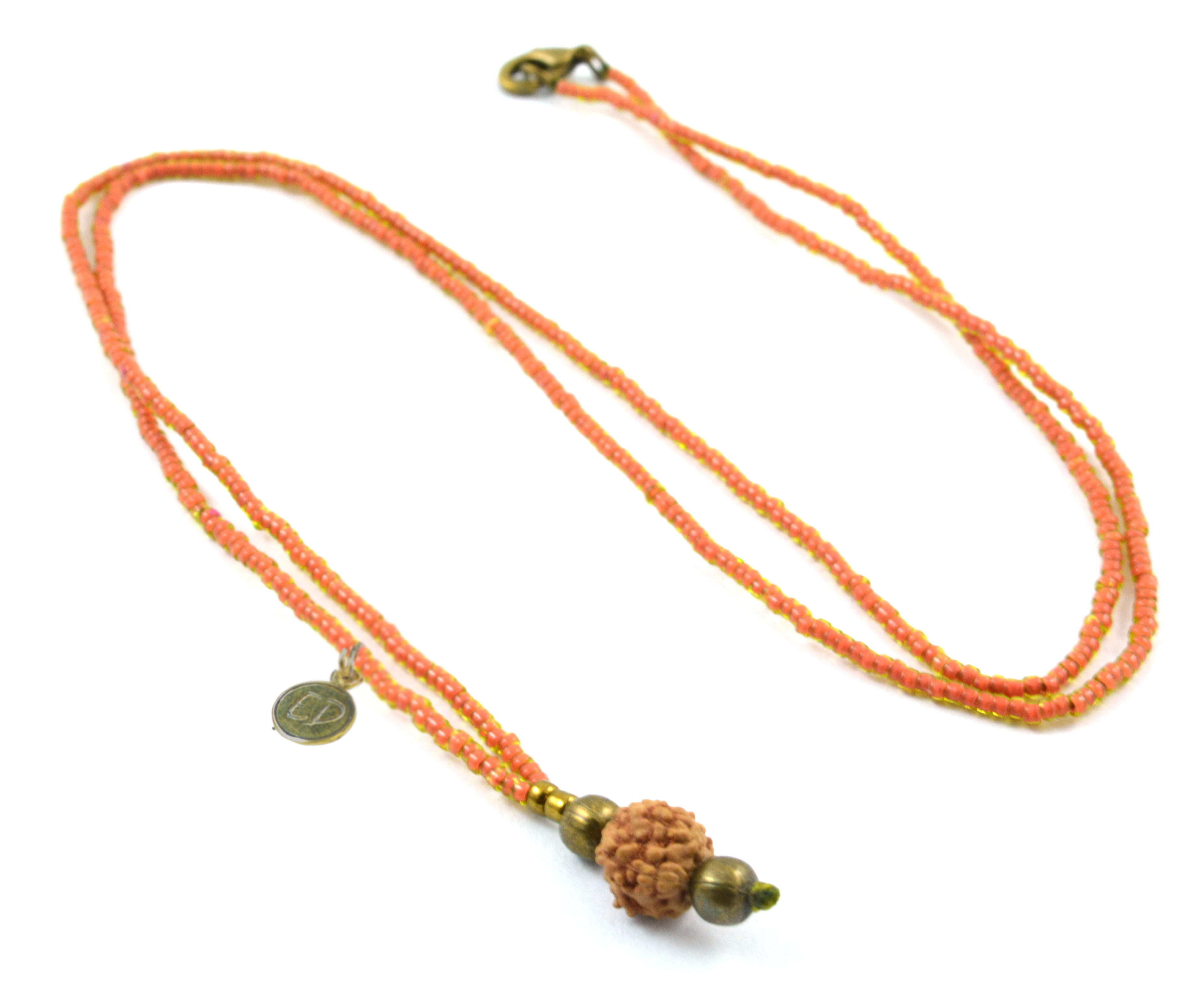 Náhrdelník z japonského rokajlu s korálkou rudraksha - oranžový