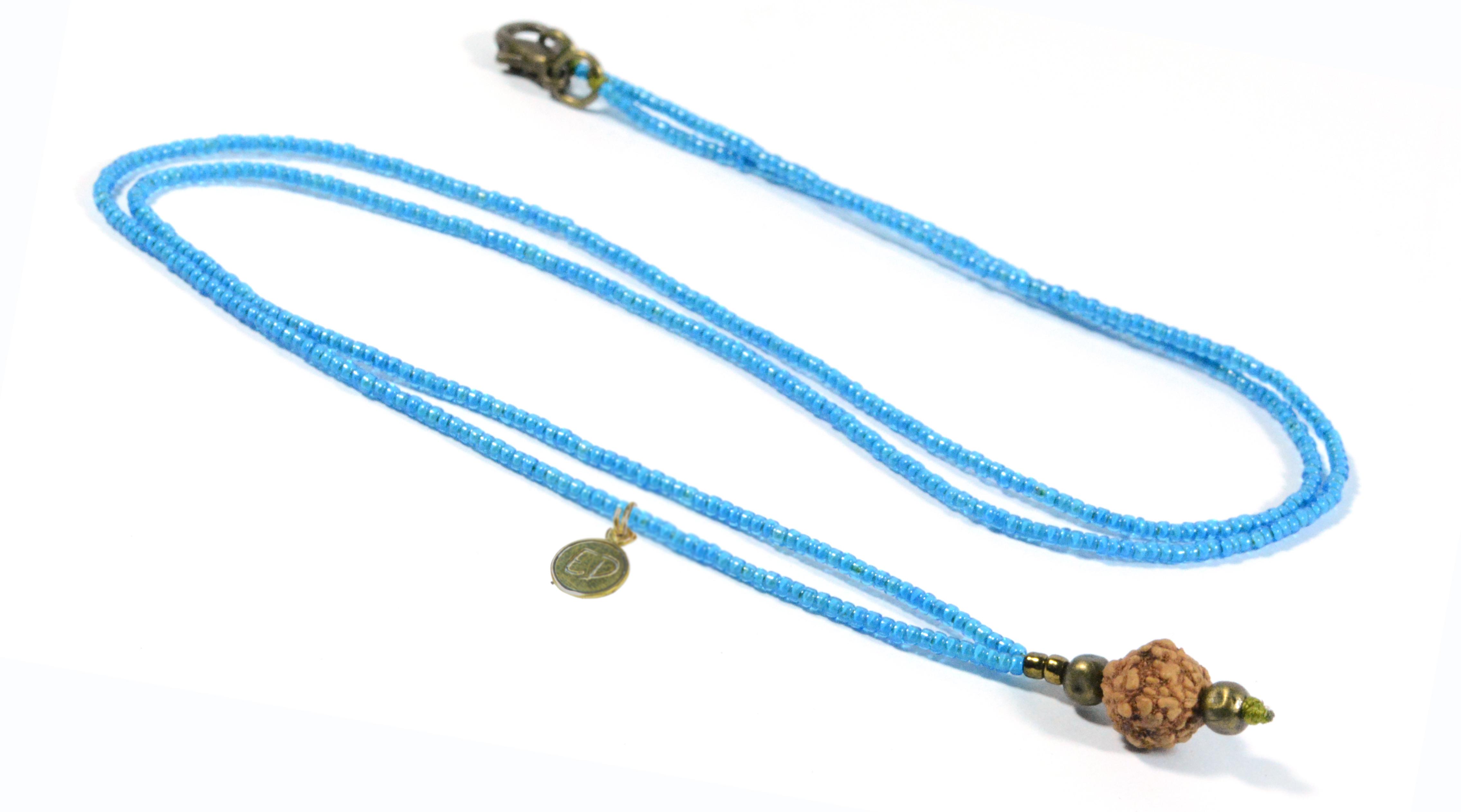 Náhrdelník z japonského rokajlu s korálkou rudraksha - modrý