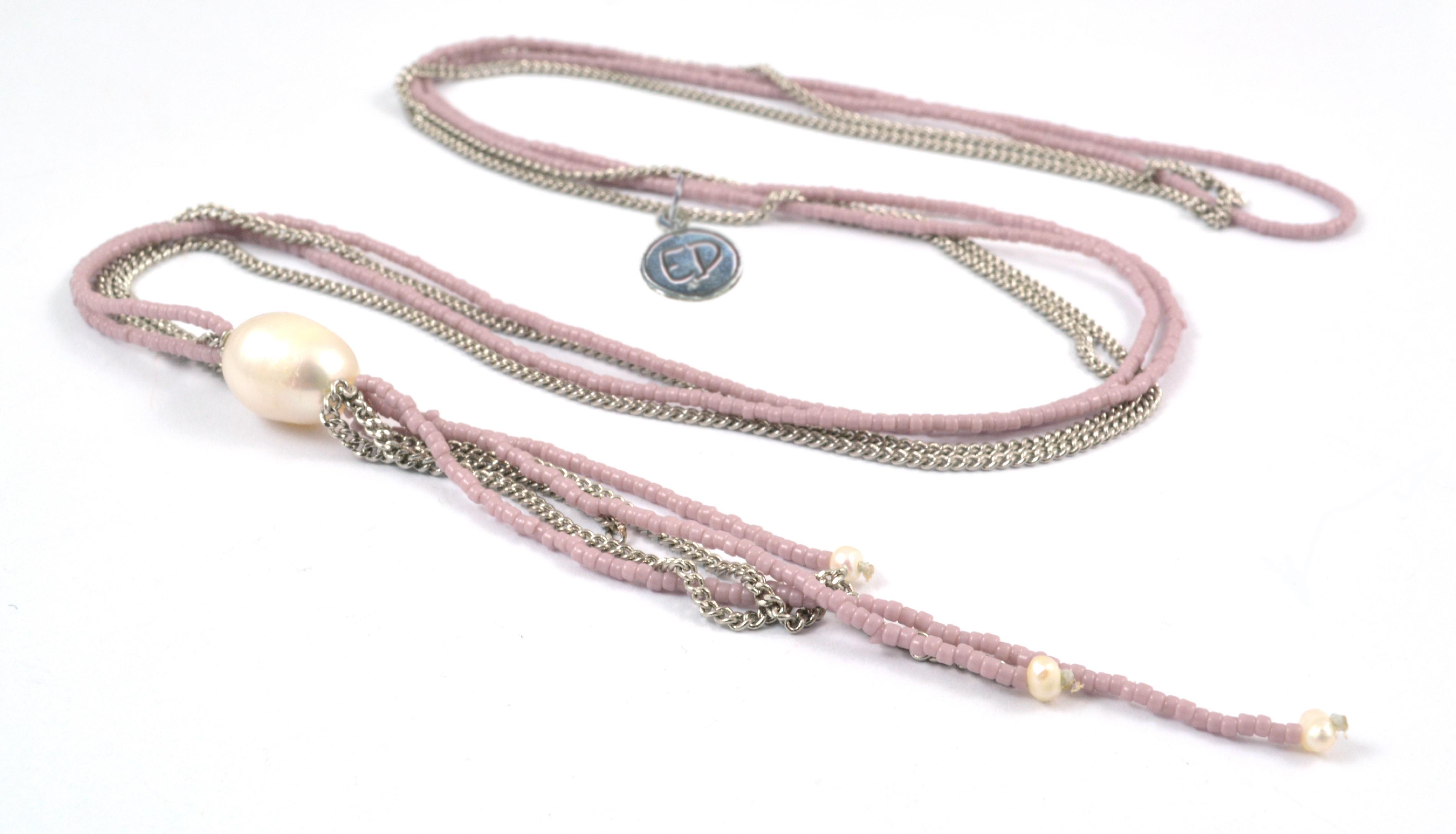 Dámsky prírodný náhrdelník z japonského rokajlu a riečnych perál - ružový