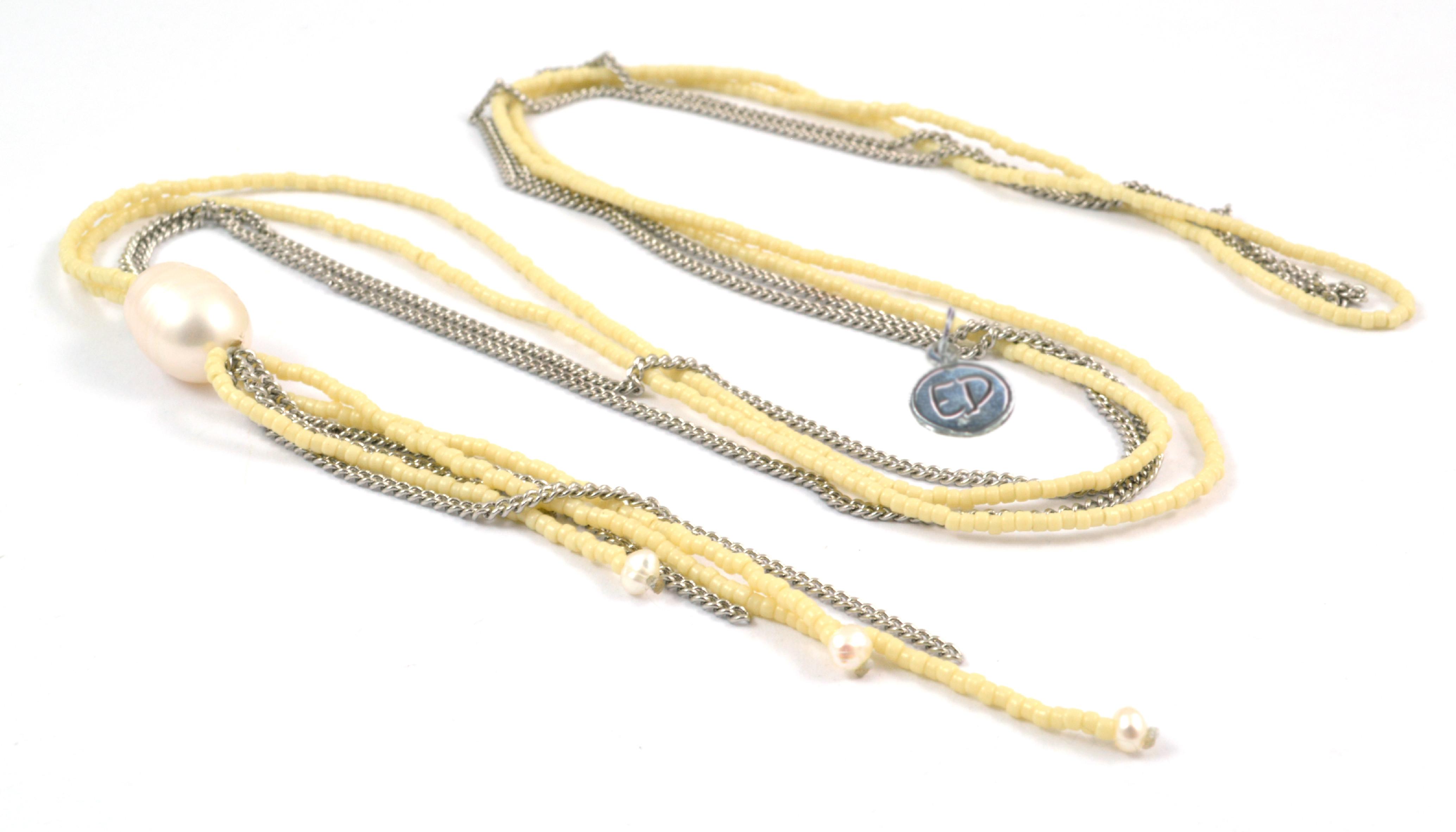 Dámsky prírodný náhrdelník z japonského rokajlu a riečnych perál - žltý
