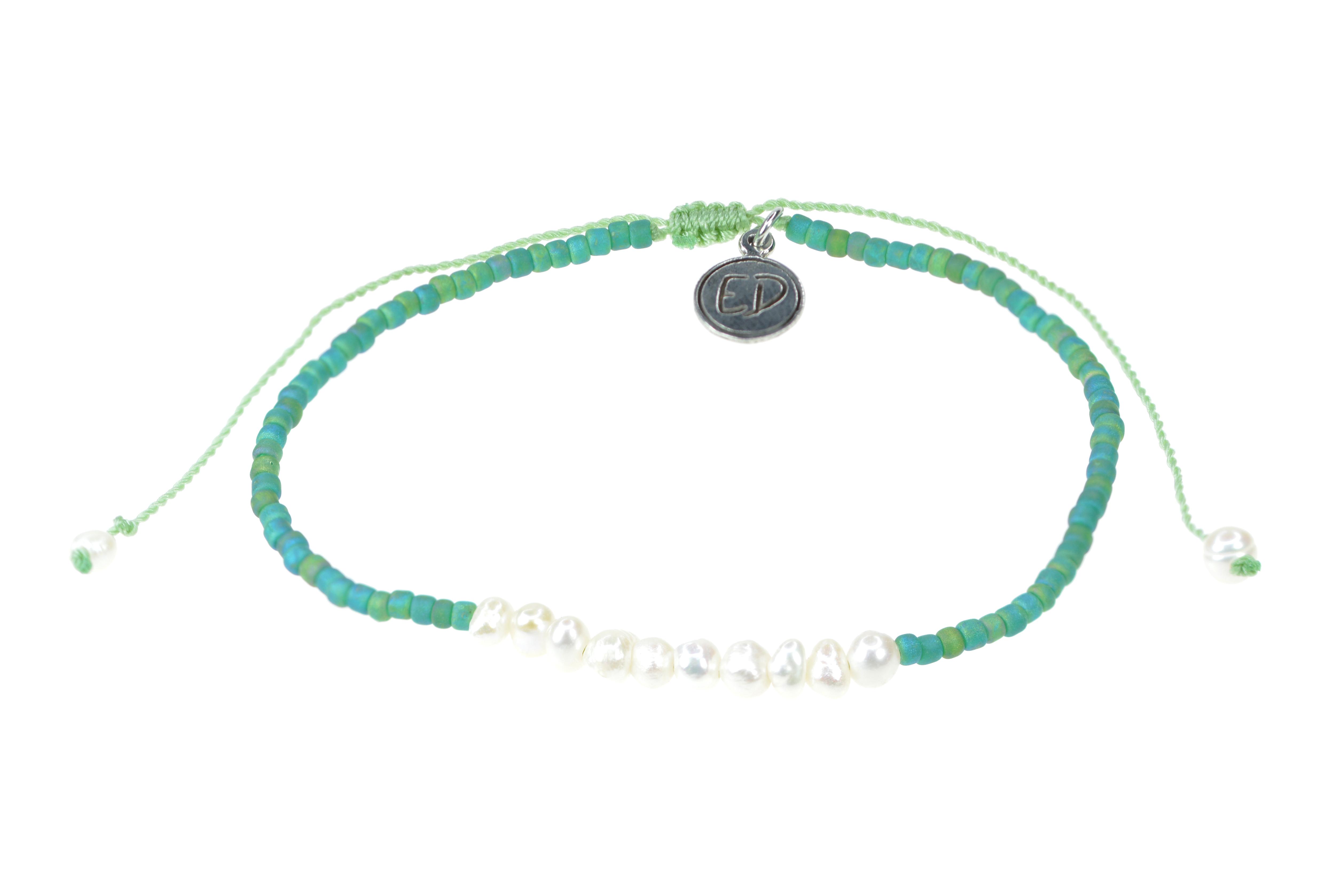 Náramok z japonského rokajlu s perličkami - zelený