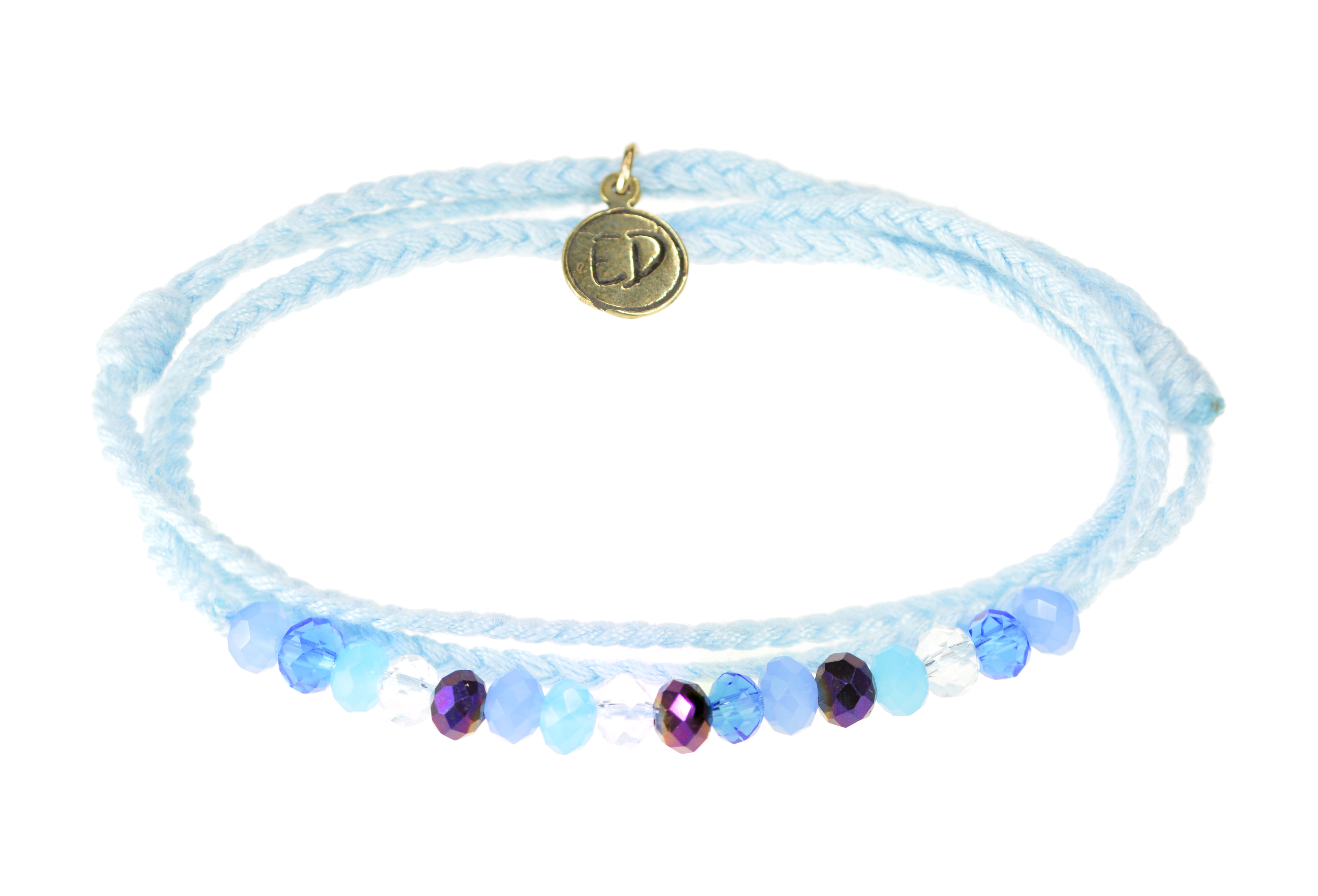 Pletený náramok s farebnými krištáľovými korálkami - modrý