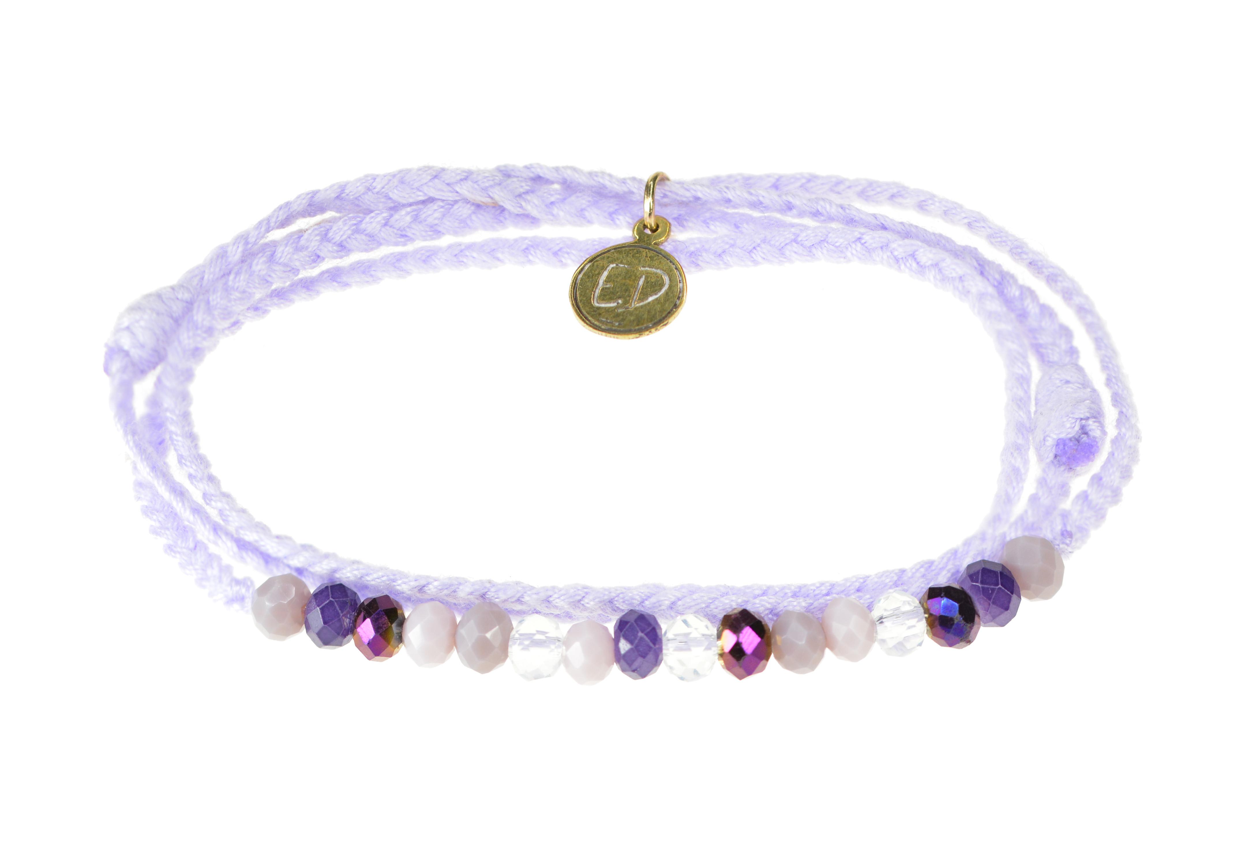 Pletený náramok s farebnými krištáľovými korálkami - fialový
