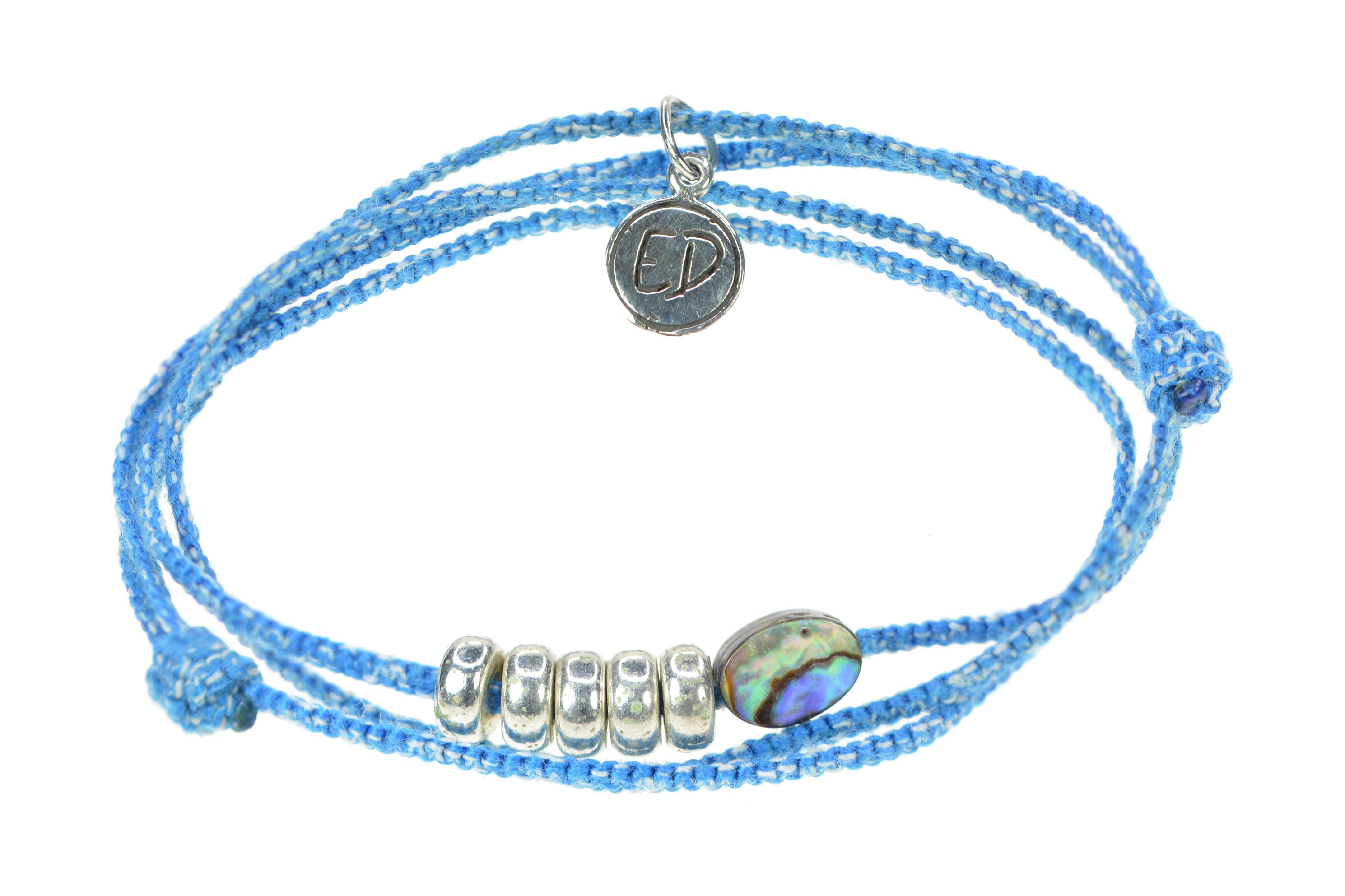 Pletený náramok s Paua mušľou - modrý