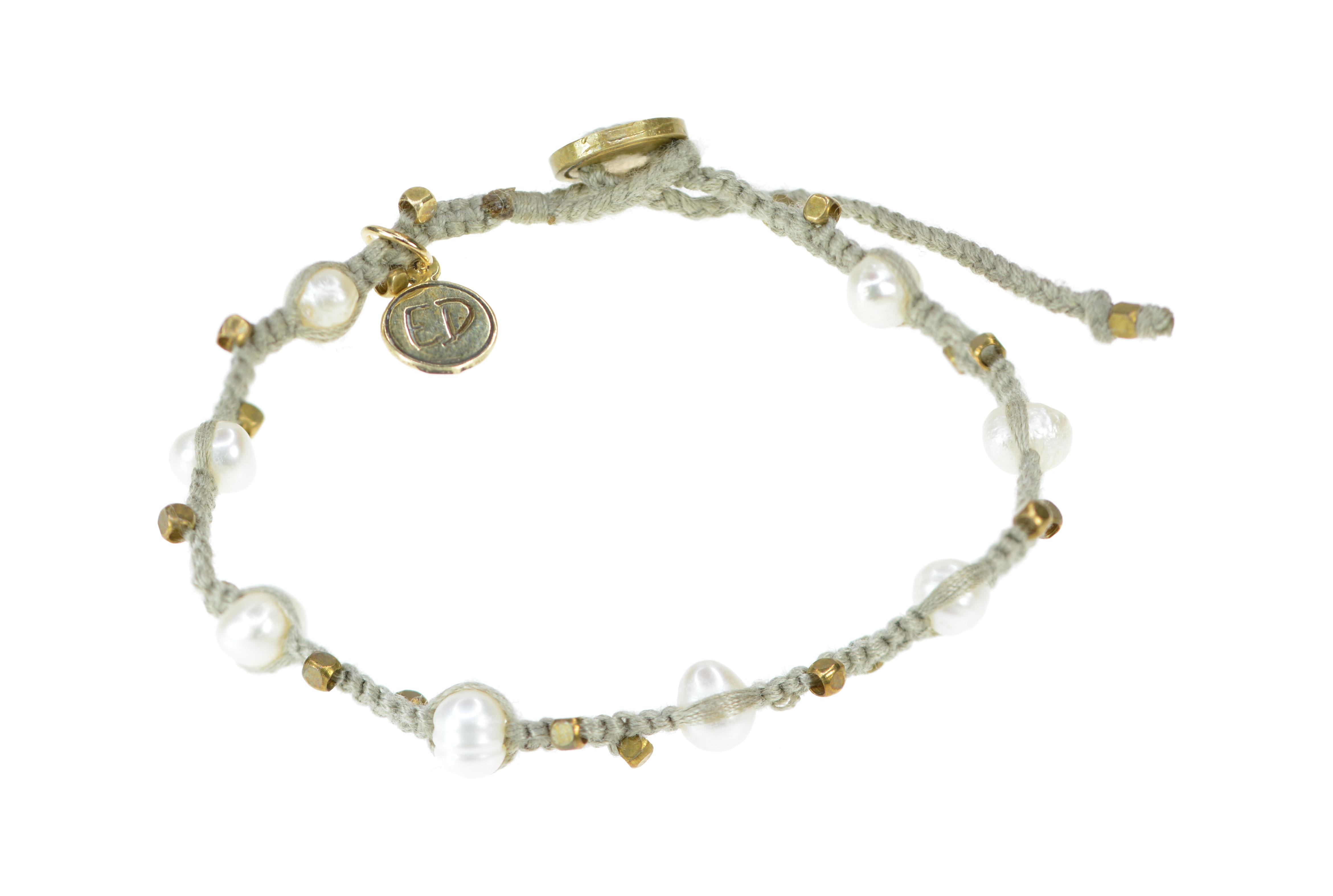 Pletený perlový náramok - sivo-hnedý