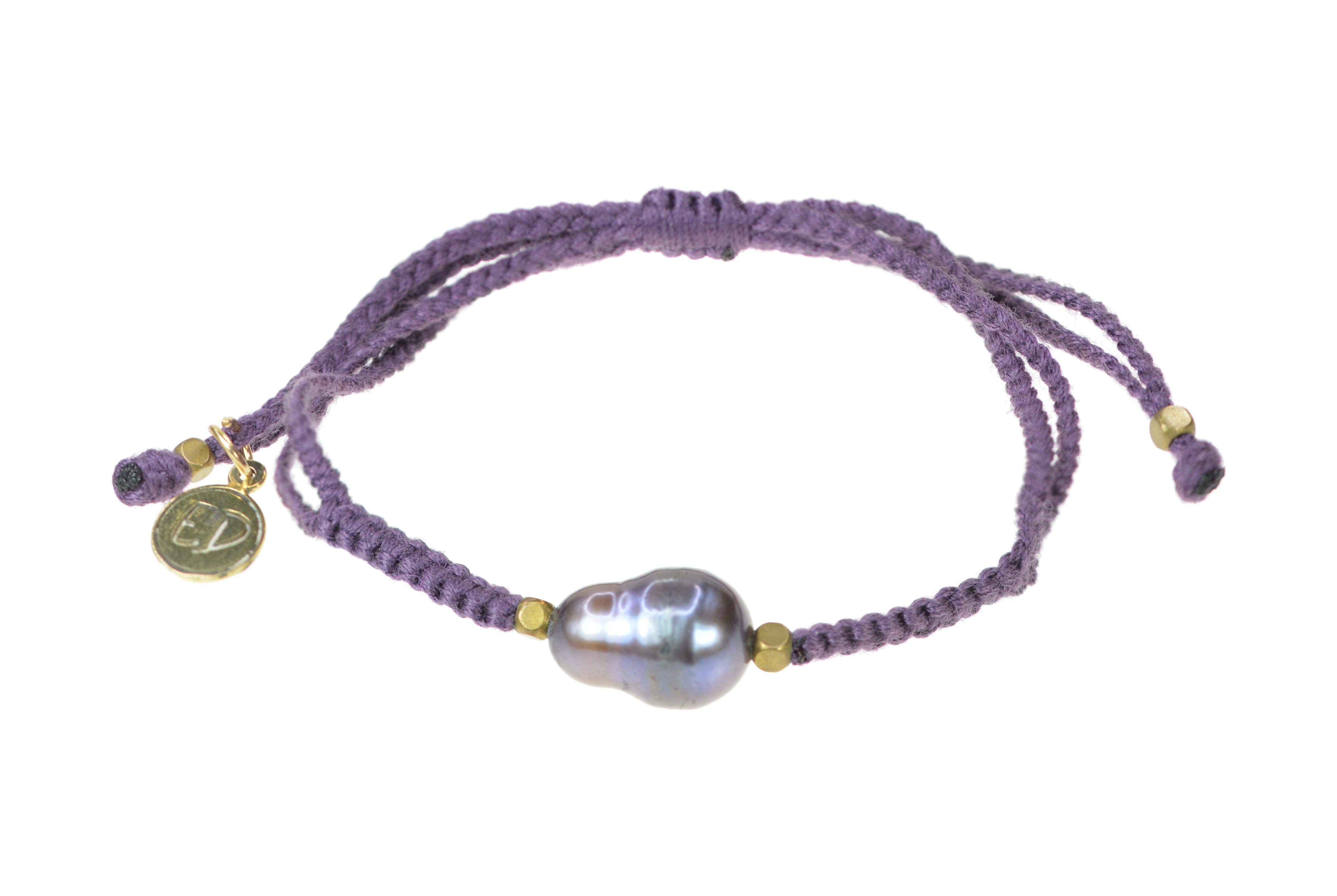 Dámsky pletený náramok s perlou  - fialový