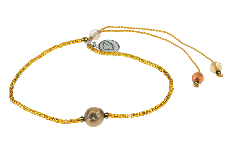 Náramok s riečnou perlou a polodrahokamom achát - medený