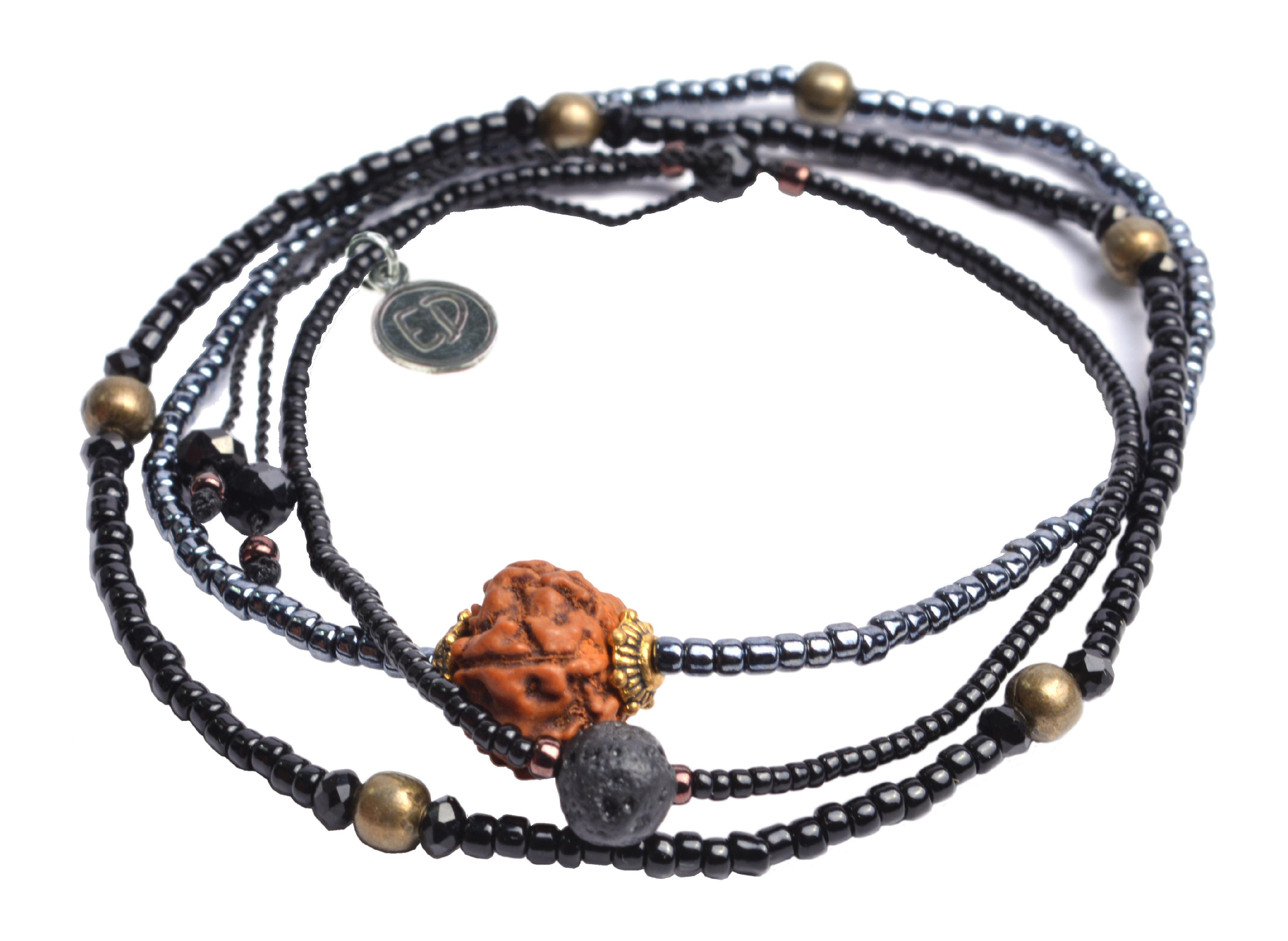 Set náramkov s lávovým kameňom a korálkou Rudraksha - čierny