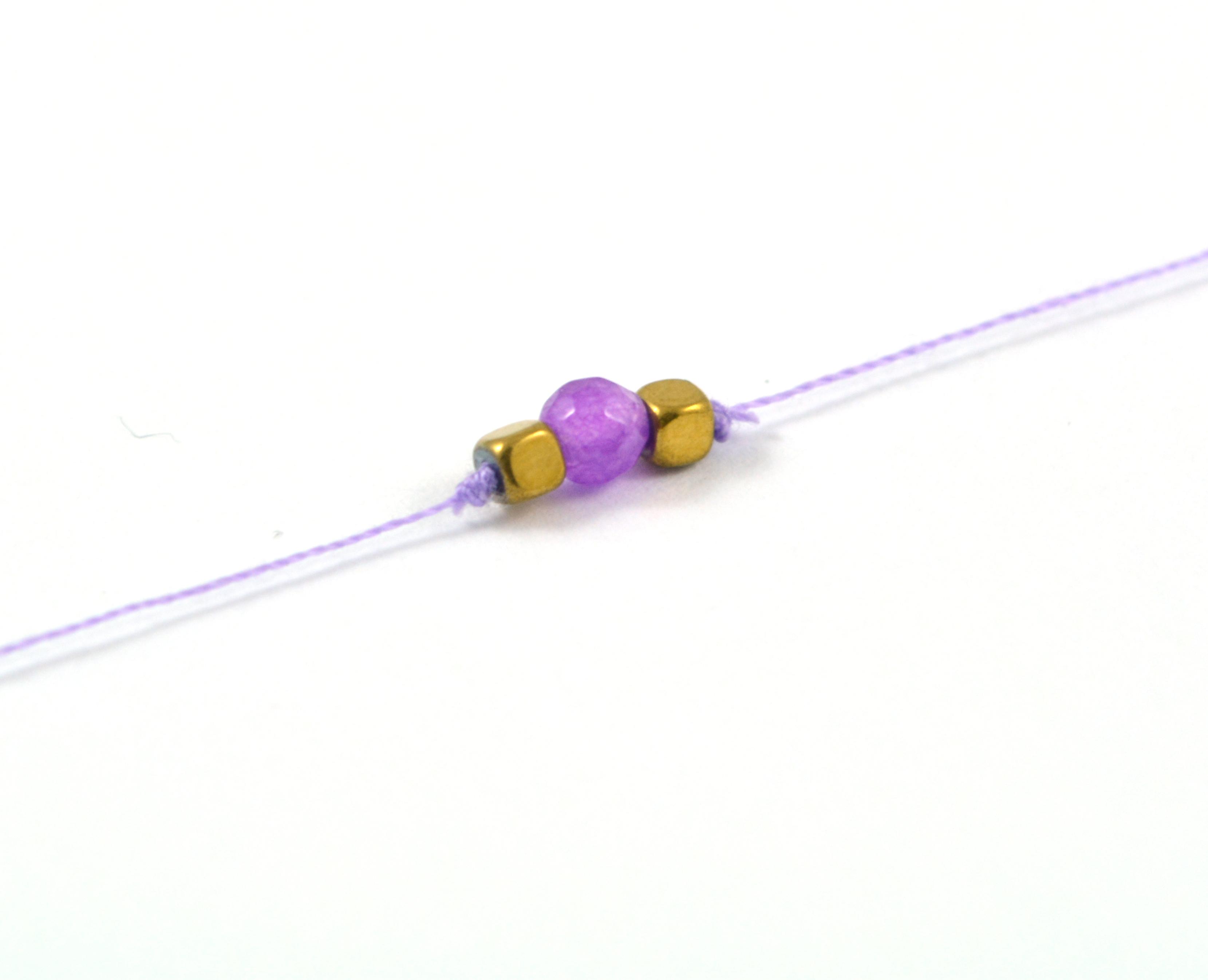 Bavlnený šnúrkový náramok s achátom - fialový