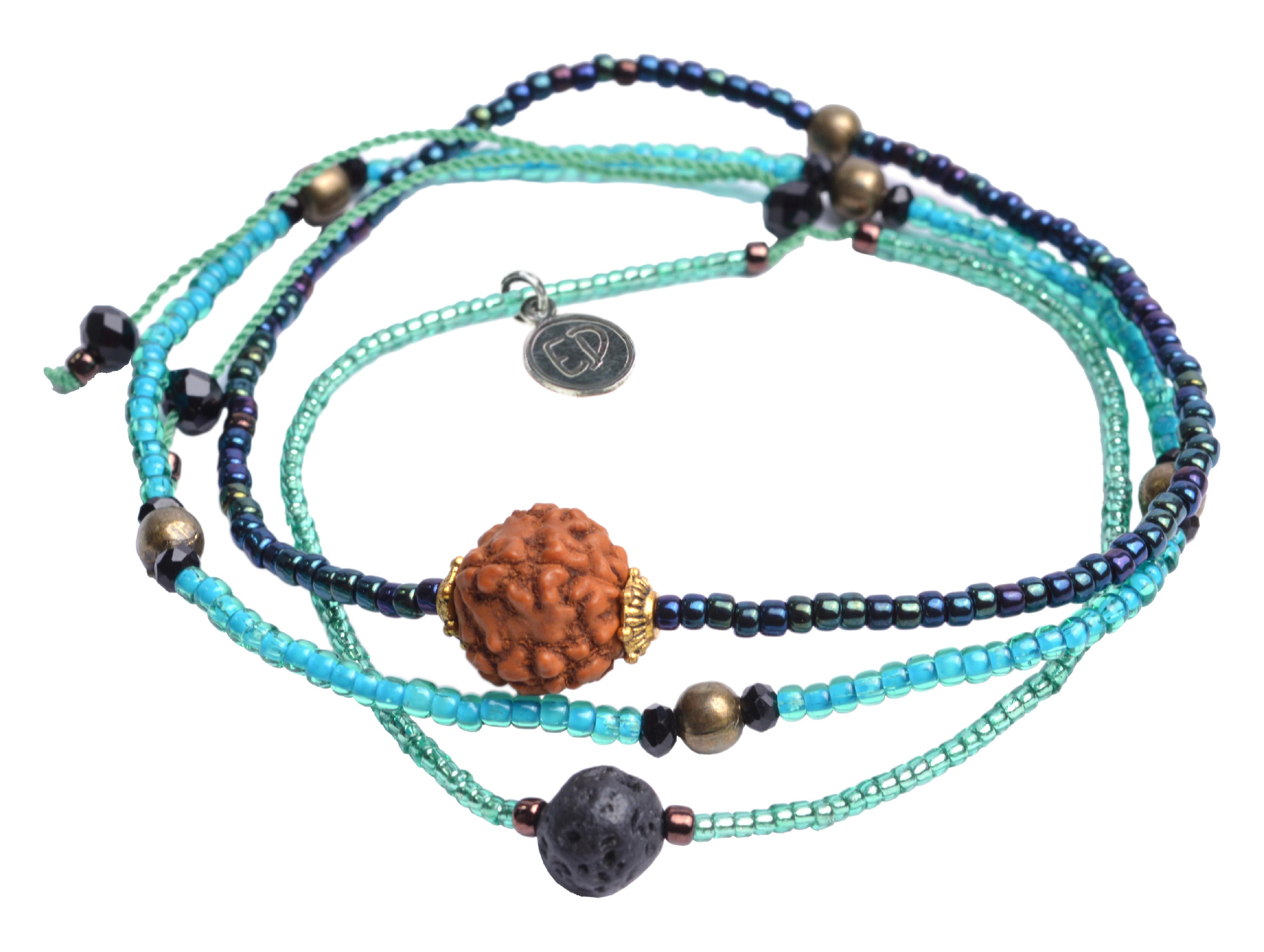 Set náramkov s lávovým kameňom a korálkou Rudraksha - tyrkysový