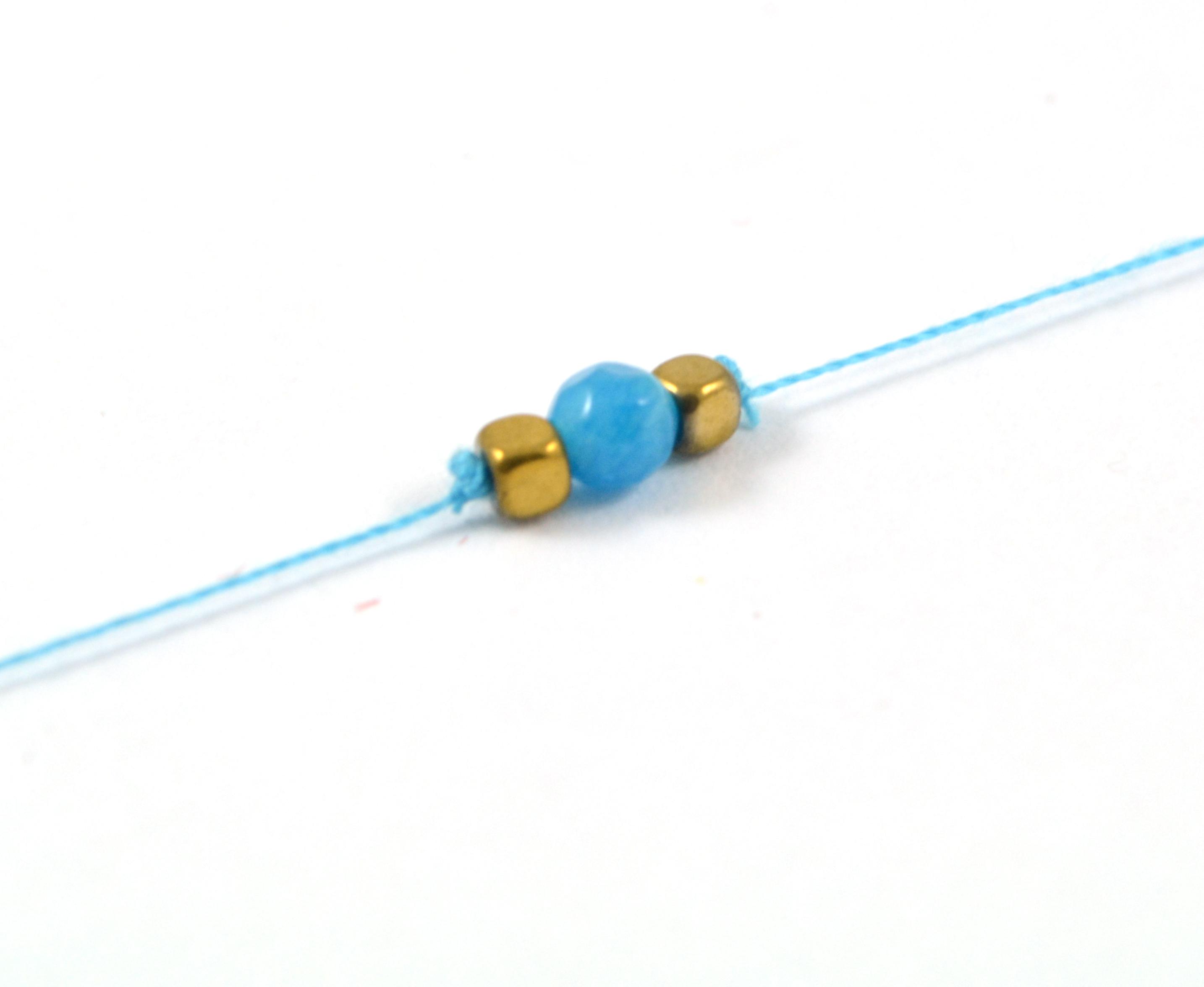 Bavlnený šnúrkový náramok s achátom - modrý
