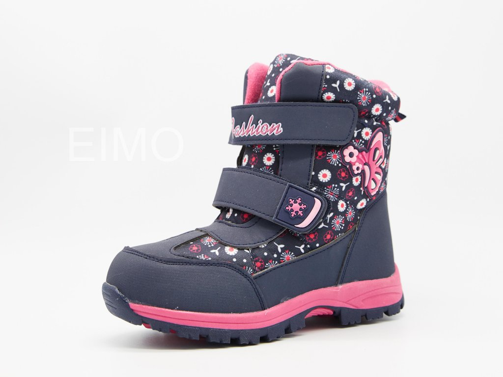 Modro růžové dětské sněhule na suchý zip Isolda
